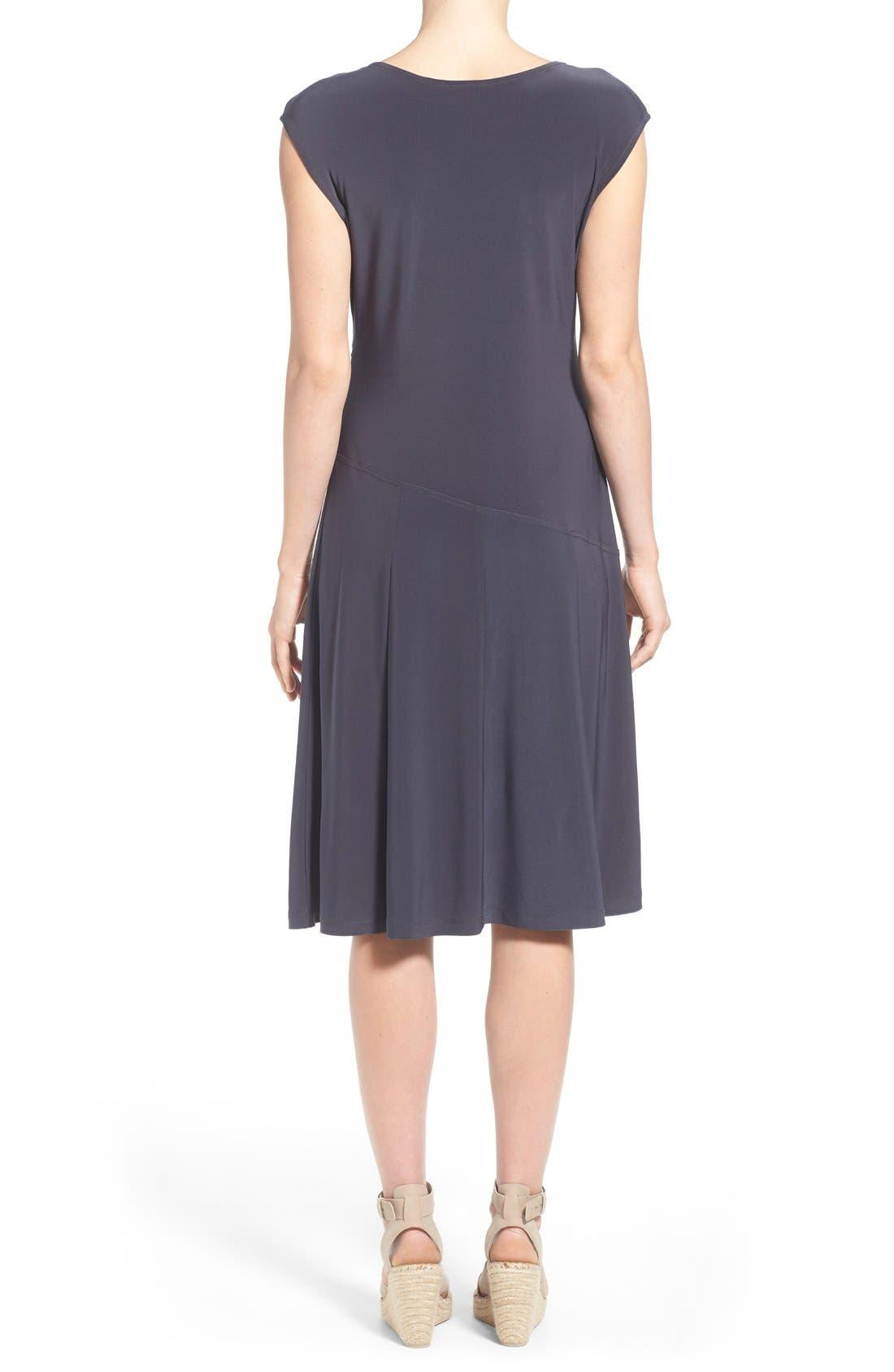 Matte Jersey Faux Wrap Fit & Flare Dress,                             Alternate thumbnail 8, color,