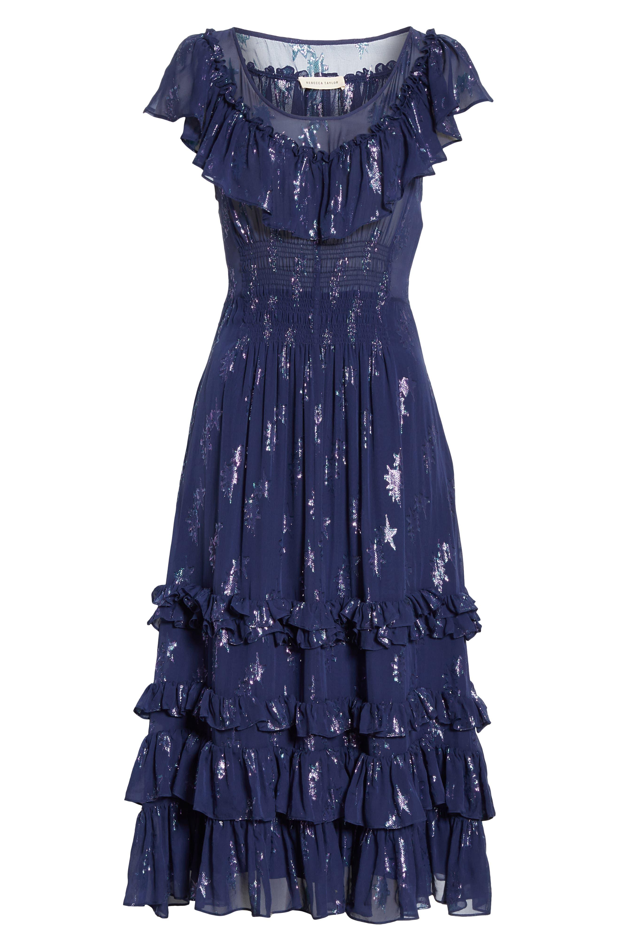 Metallic Stars Midi Dress,                             Alternate thumbnail 6, color,                             GEMINI