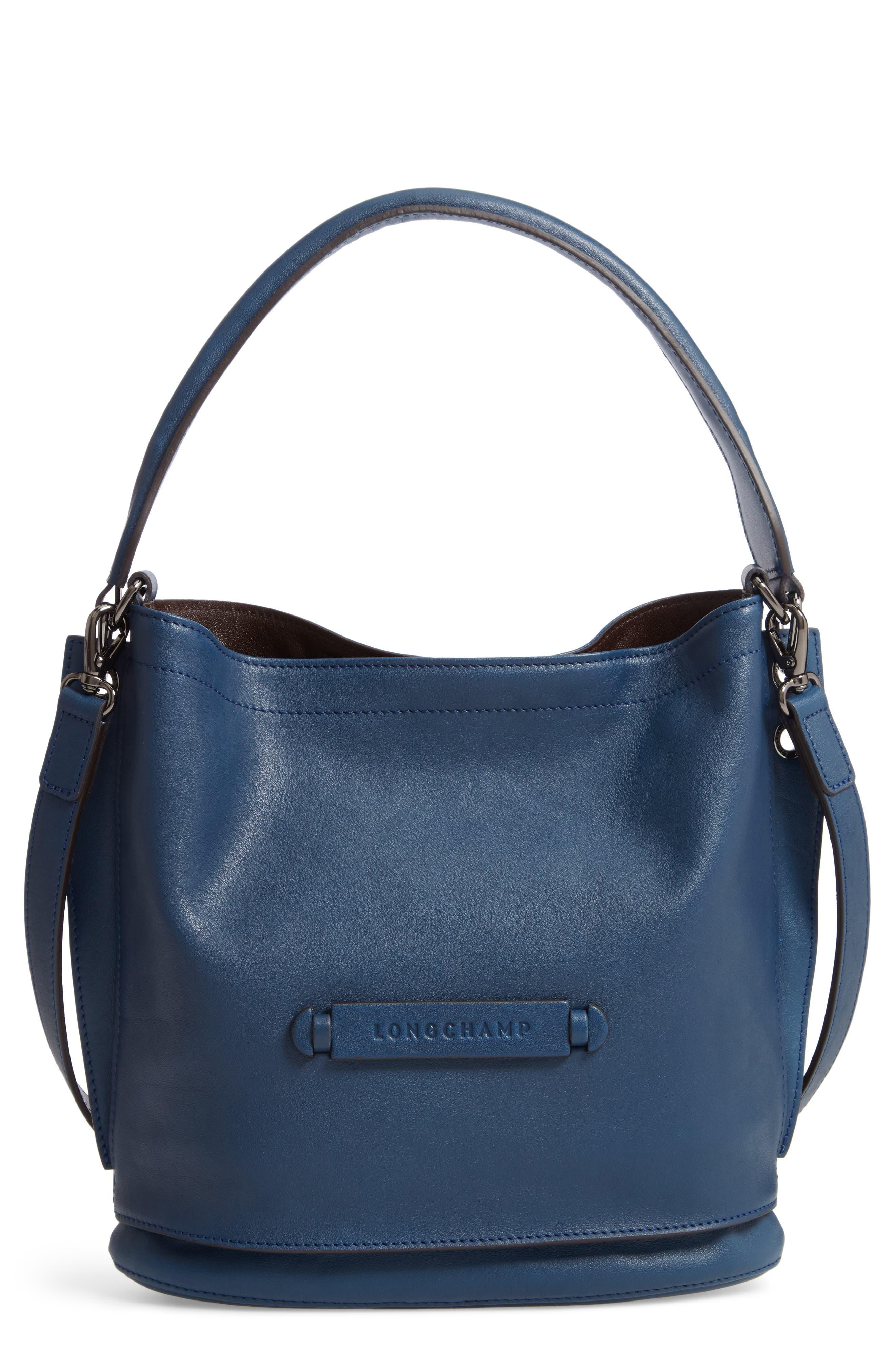 3D Leather Bucket Bag,                             Main thumbnail 1, color,                             PILOT BLUE