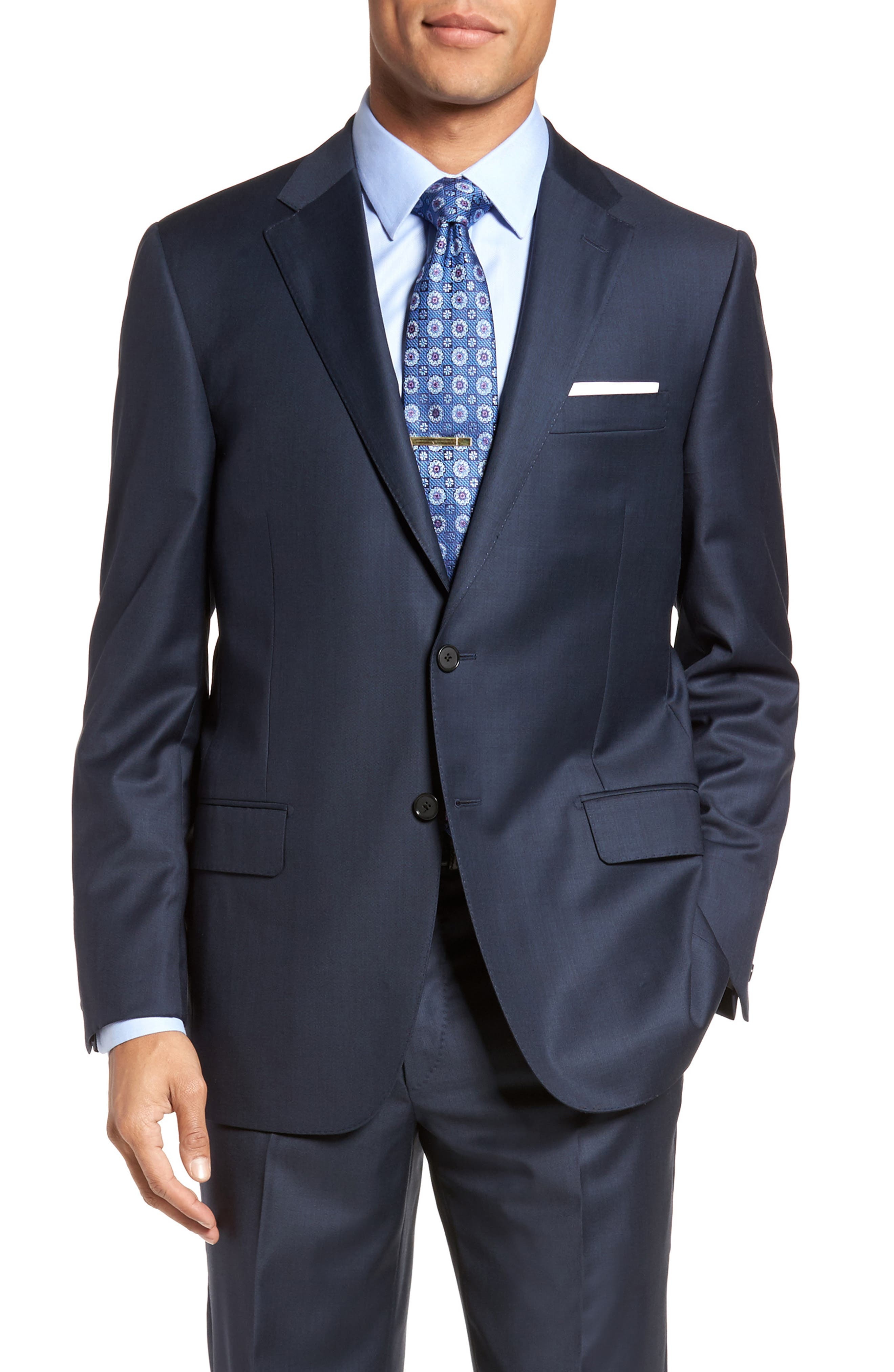 Classic B Fit Solid Loro Piana Wool Suit,                             Alternate thumbnail 5, color,                             NAVY SHARKSKIN