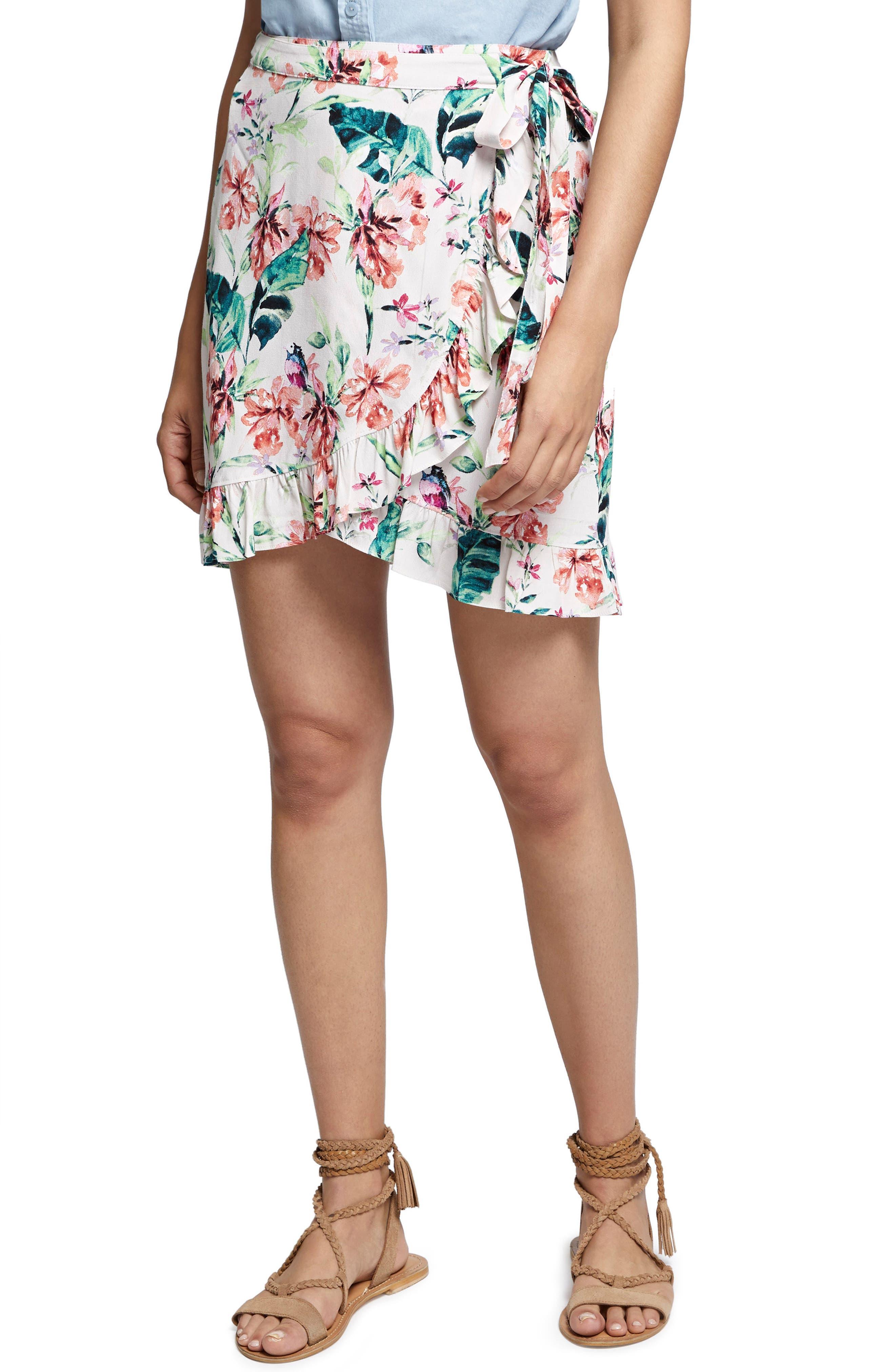 Tropicana Side Tie Ruffle Skirt,                             Main thumbnail 1, color,                             956