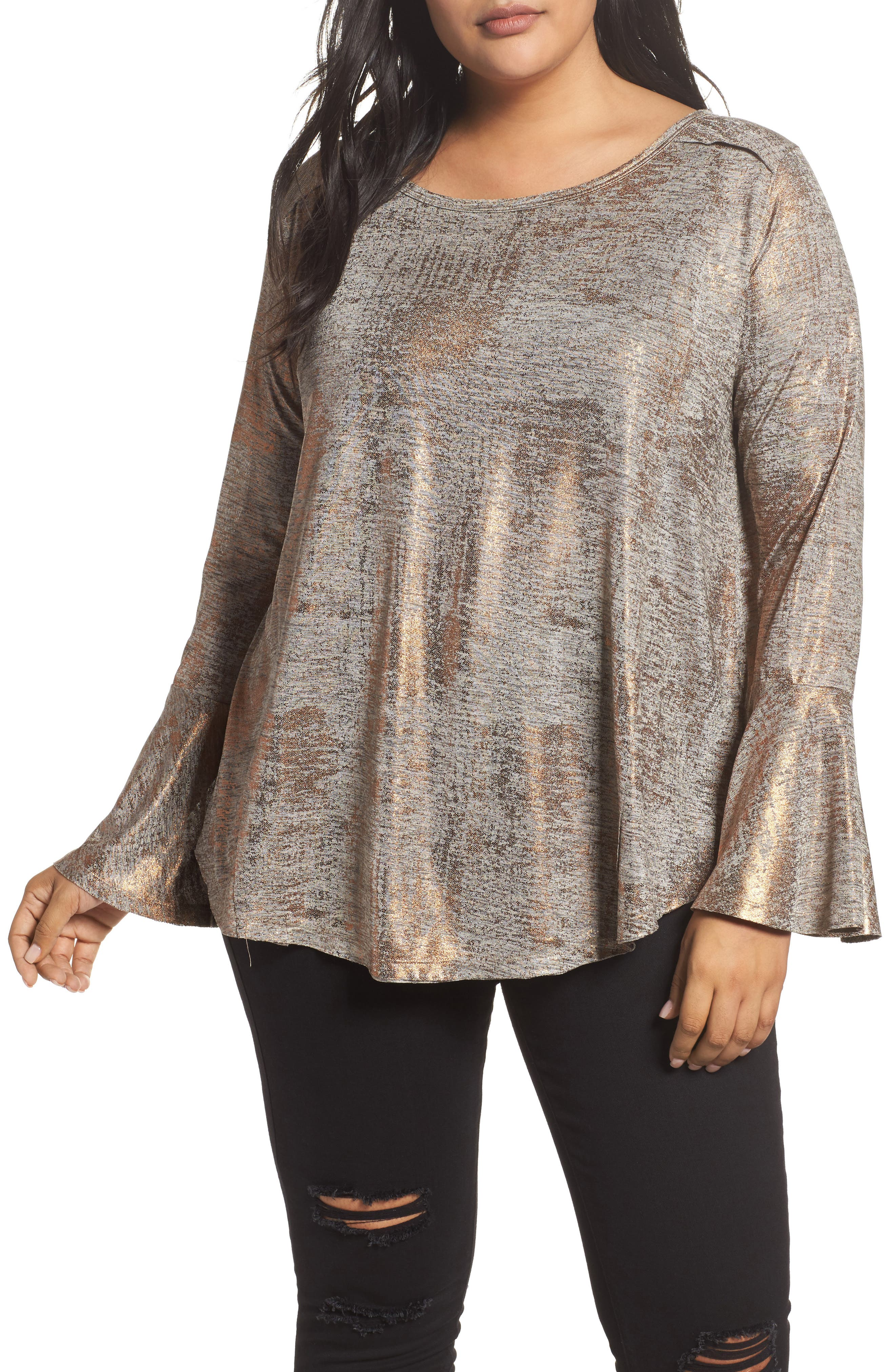 Bell Cuff Foiled Knit Top,                             Main thumbnail 1, color,                             233