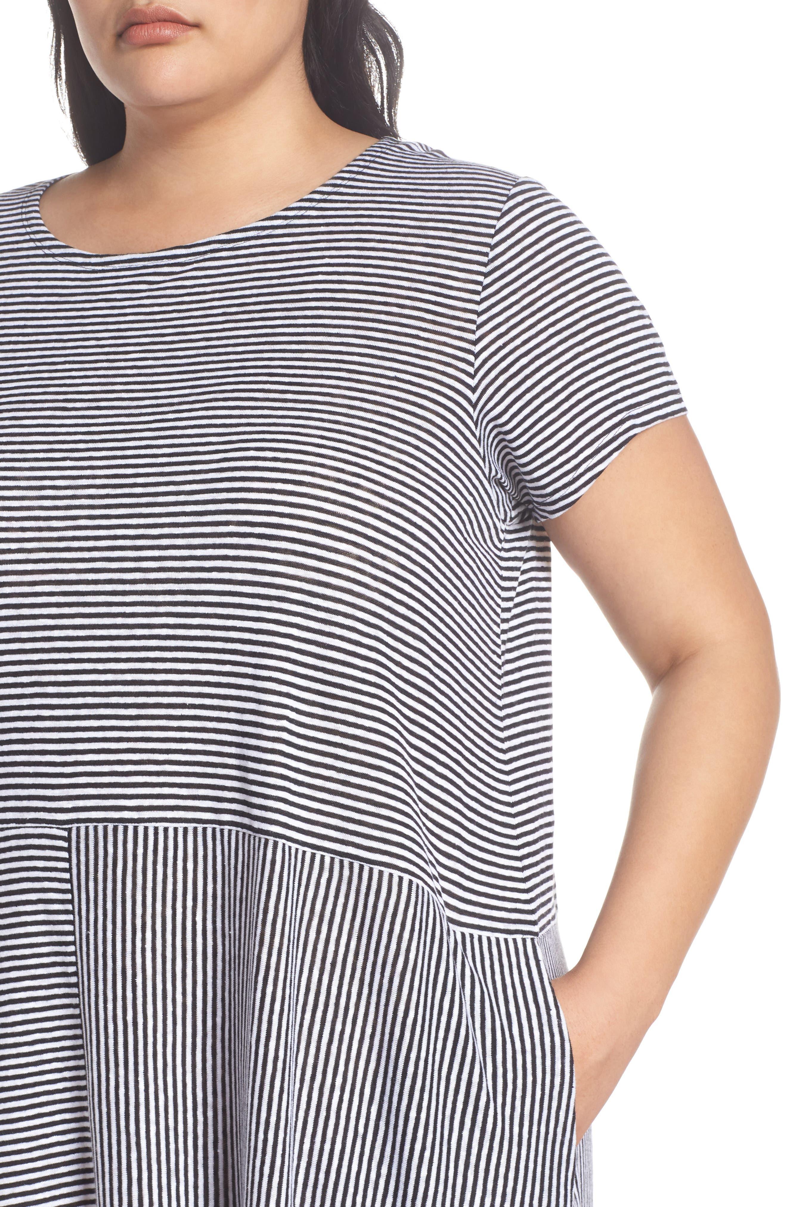 Stripe Organic Linen Jersey Shift Dress,                             Alternate thumbnail 4, color,                             018