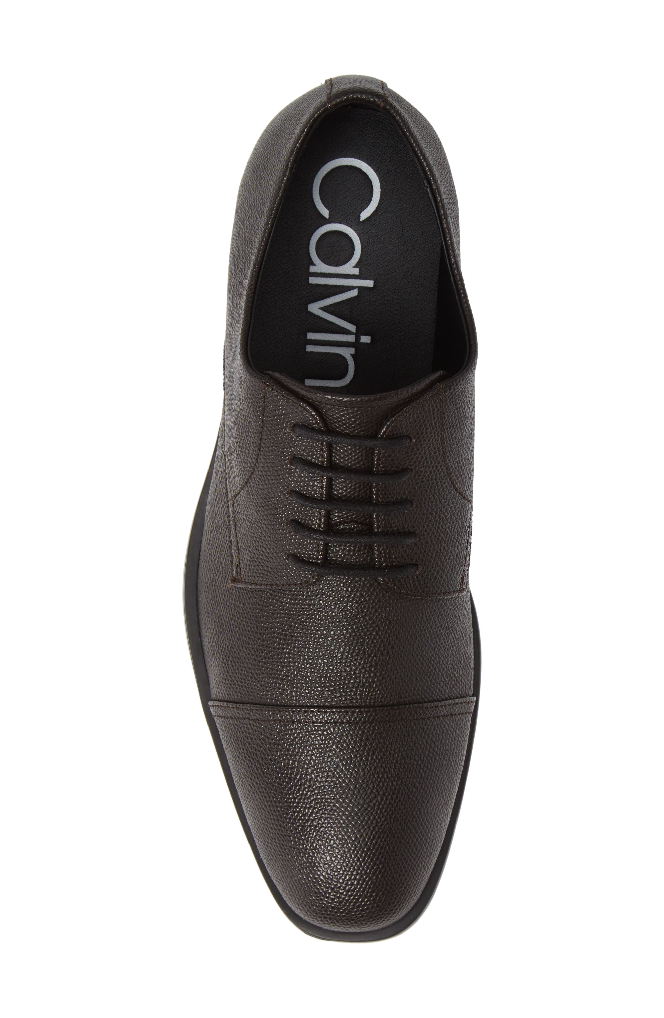 Connor Cap Toe Derby,                             Alternate thumbnail 5, color,                             DARK BROWN LEATHER