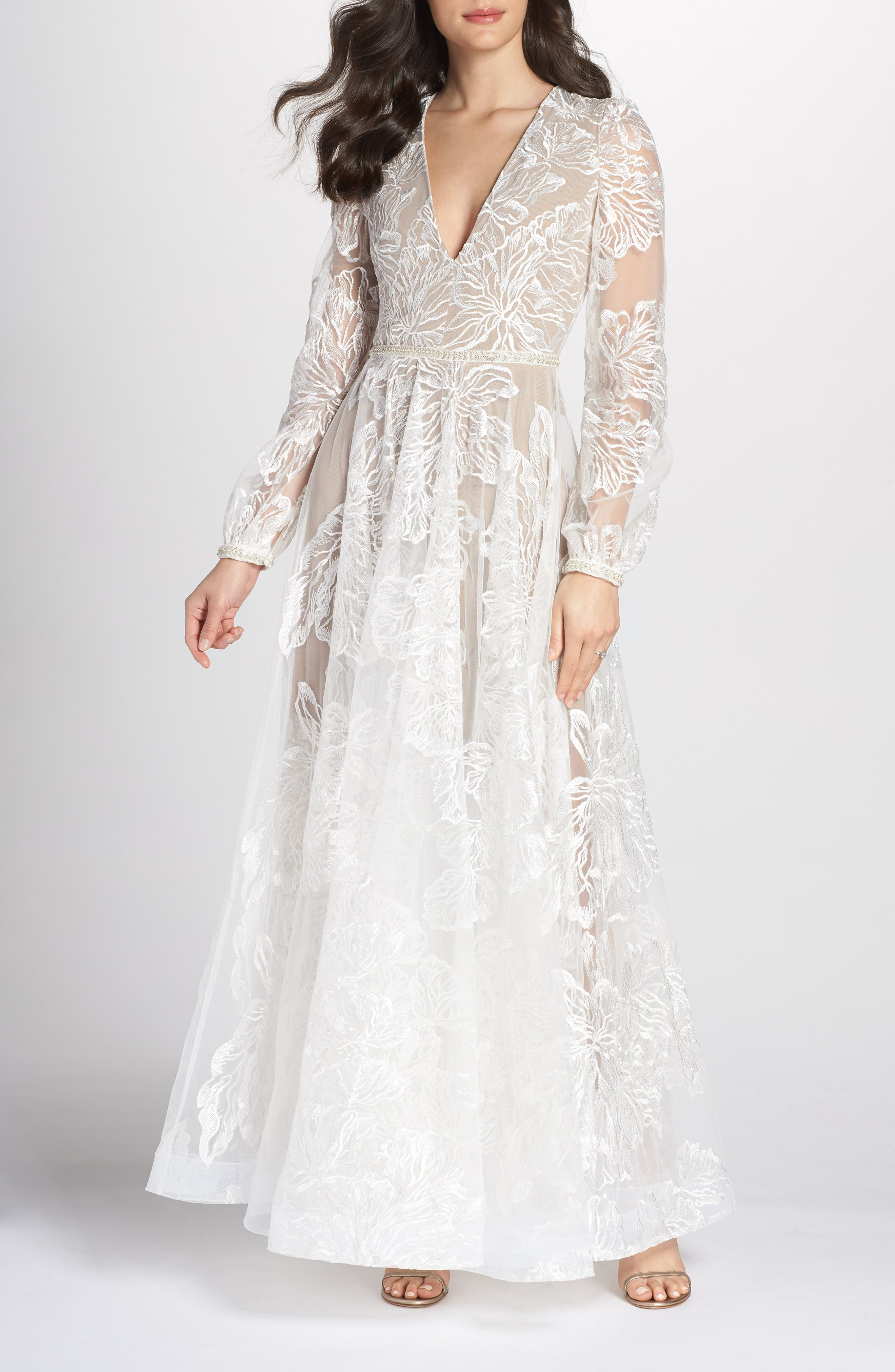 Bohemian Gown,                             Main thumbnail 1, color,                             WHITE