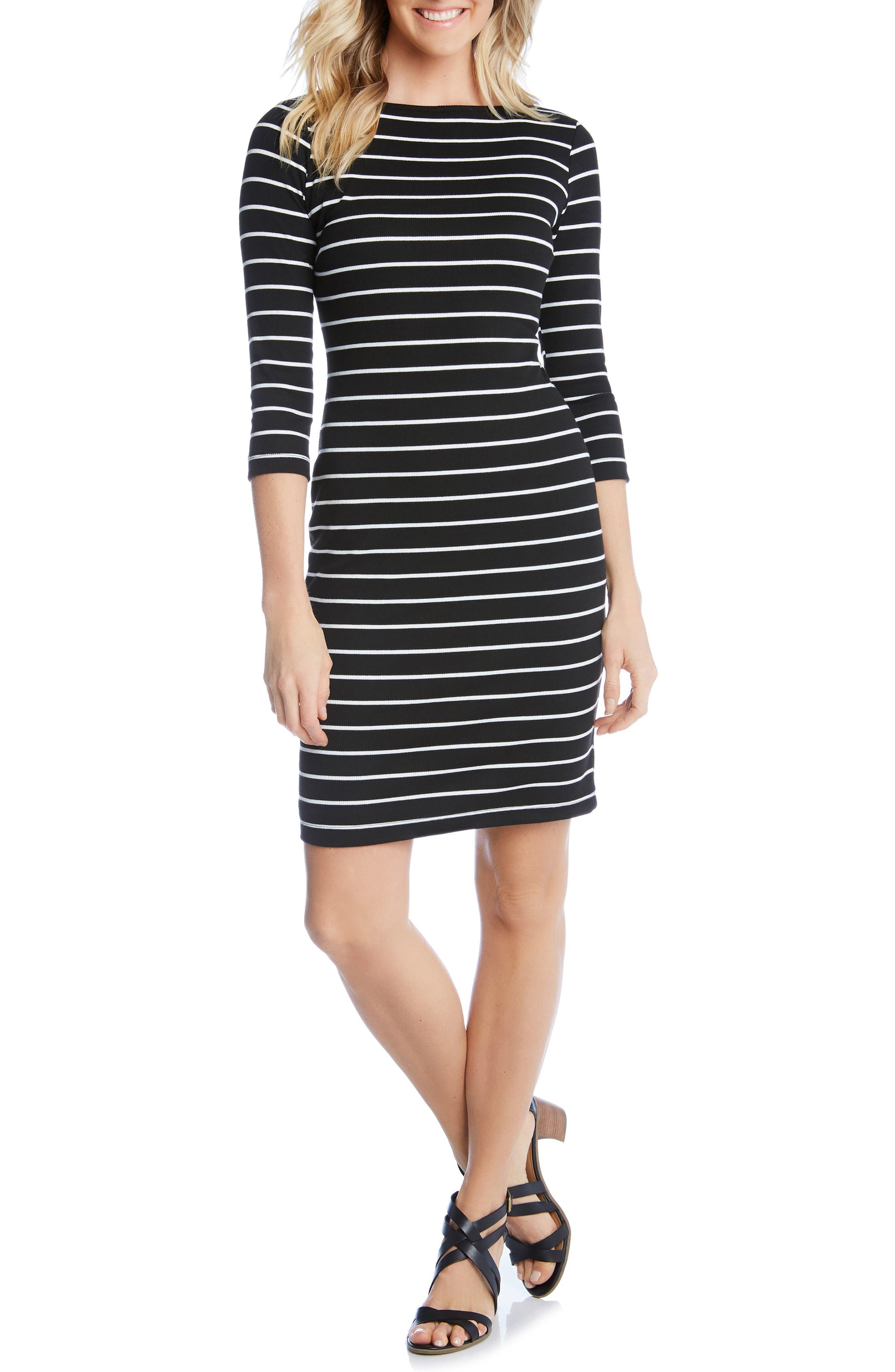 Karen Kane Stripe Body-Con Dress, Black