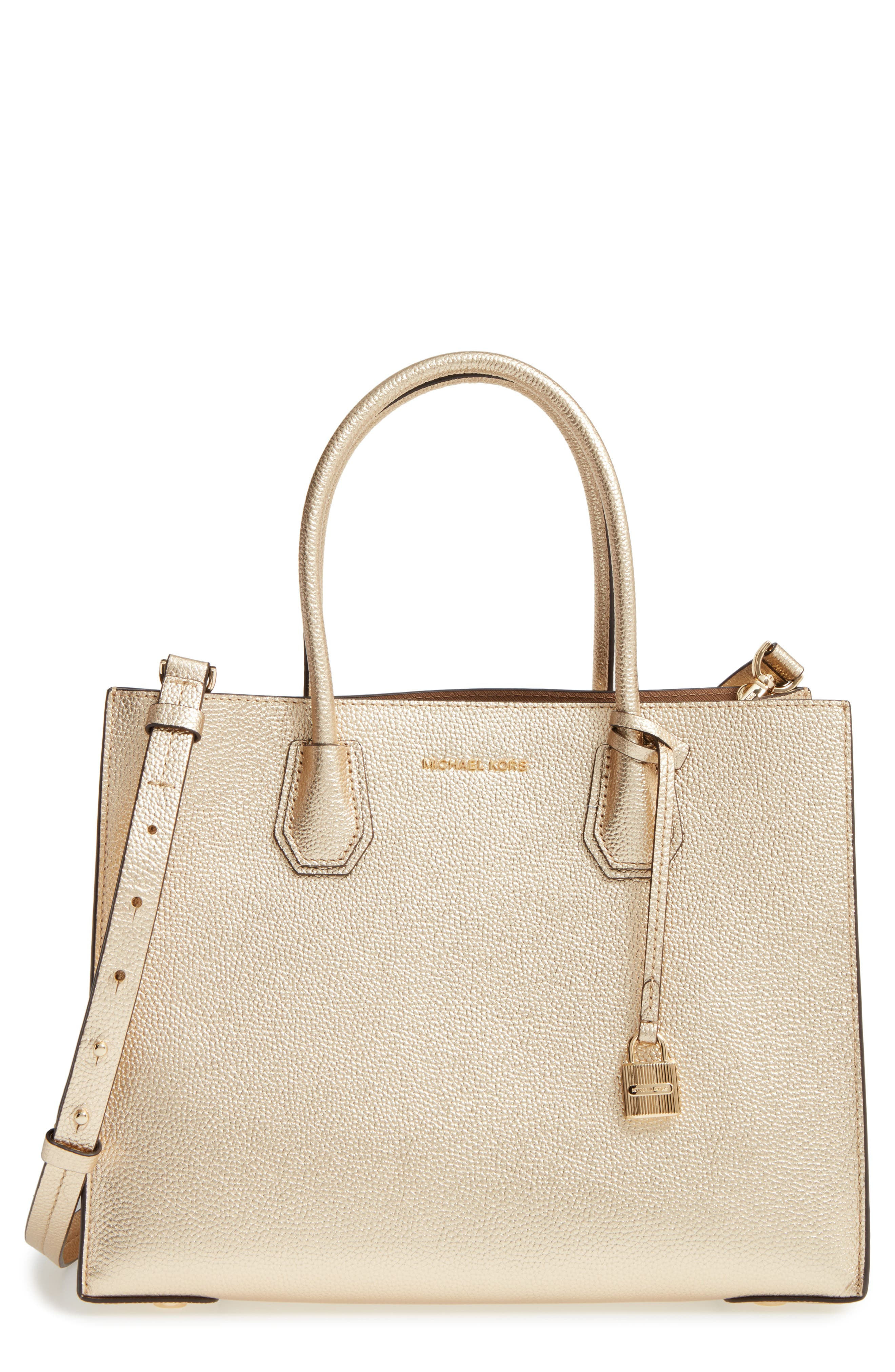 Large Mercer Metallic Leather Tote,                         Main,                         color, 740