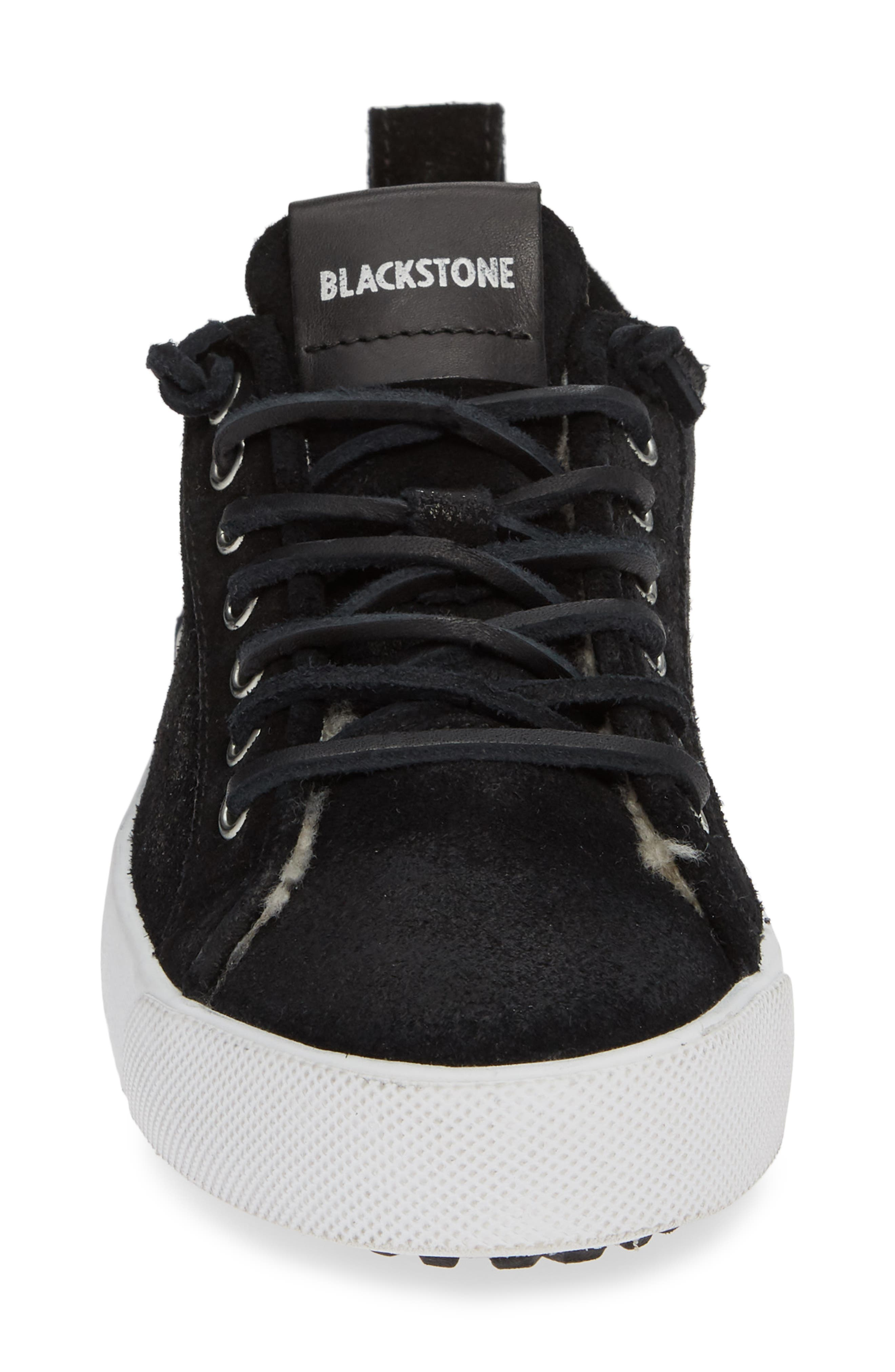 QL60 Genuine Shearling Lined Sneaker,                             Alternate thumbnail 4, color,                             BLACK LEATHER