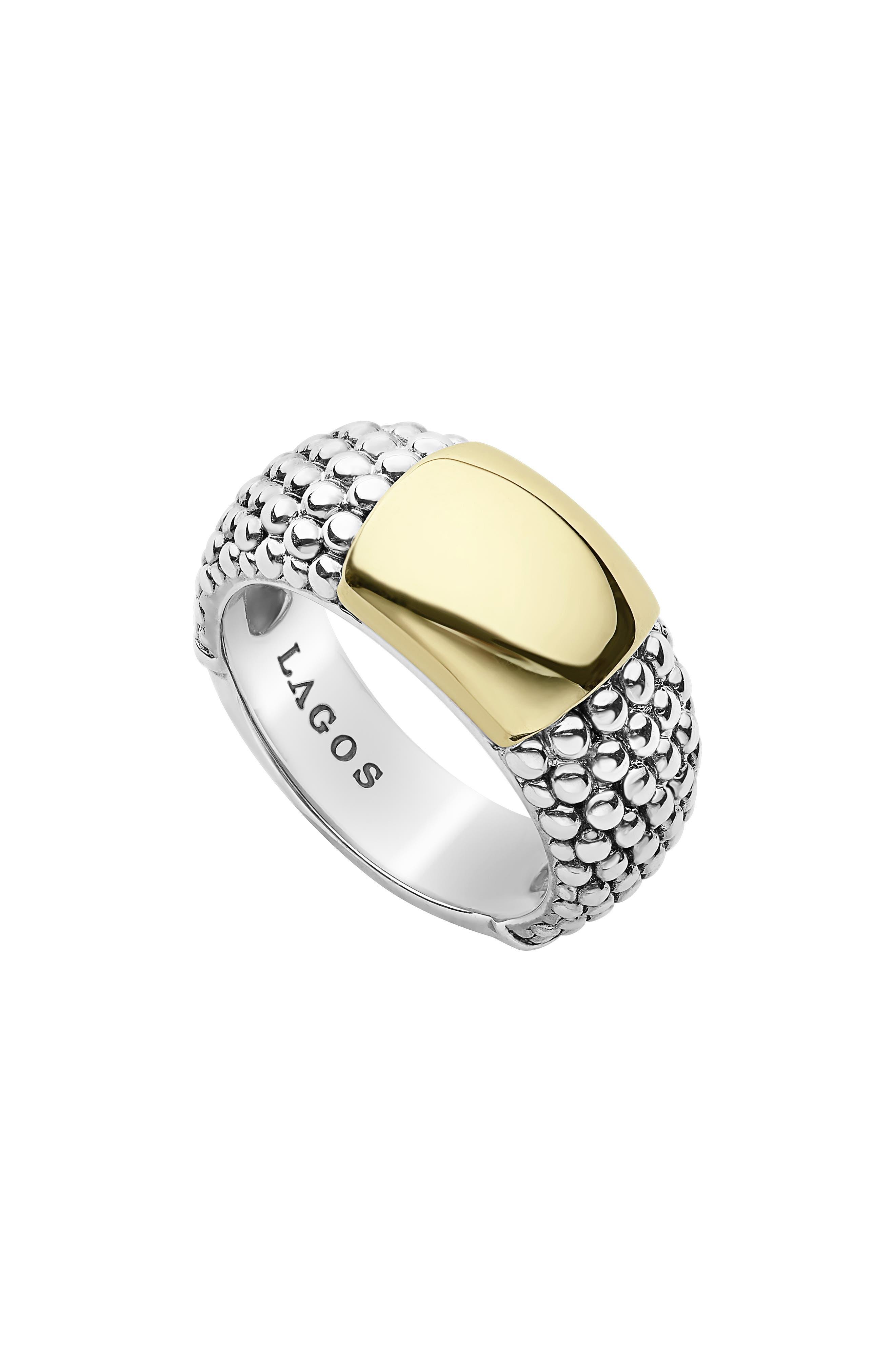 Signature Caviar High Bar Ring,                             Main thumbnail 1, color,                             SILVER/ GOLD