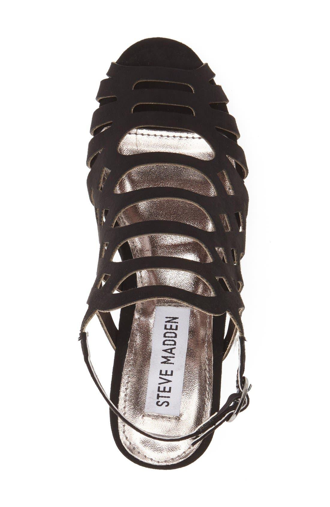'Jslithr' Cage Wedge Sandal,                             Alternate thumbnail 3, color,                             BLACK