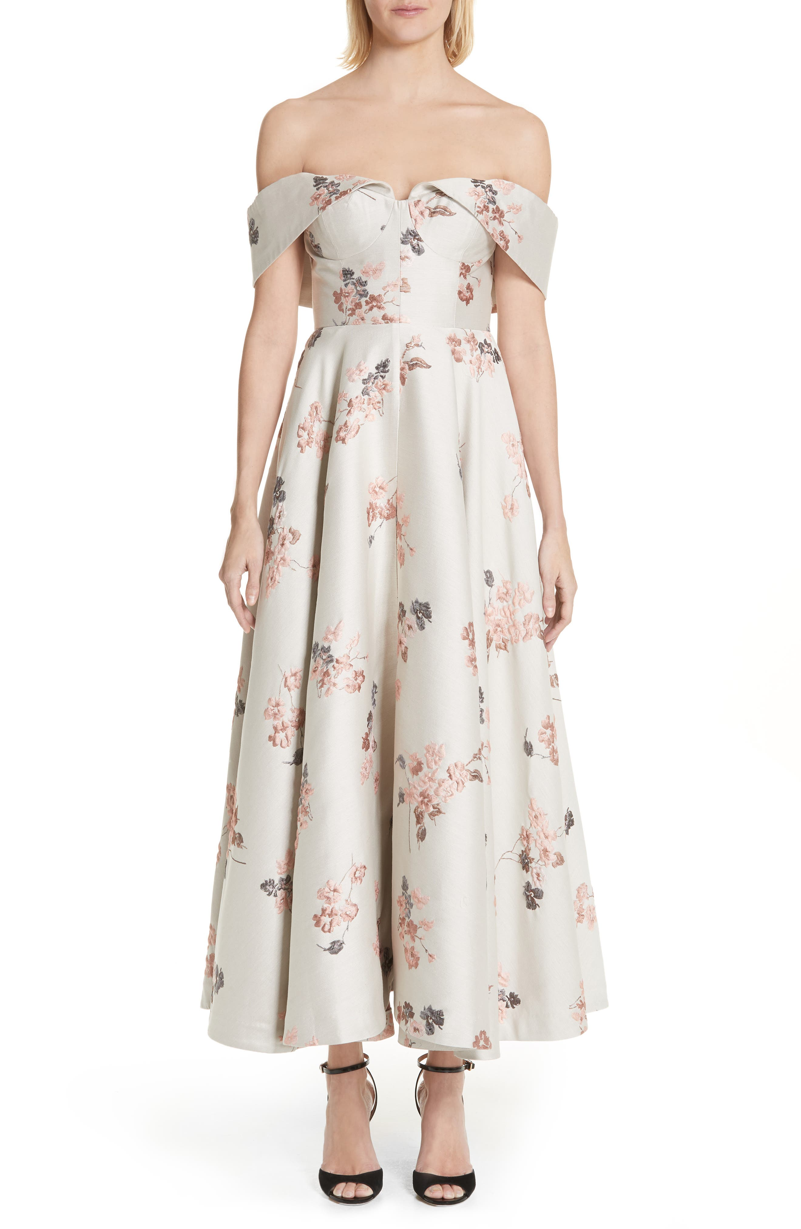 Metallic Floral Jacquard Off the Shoulder Dress,                             Main thumbnail 1, color,                             275
