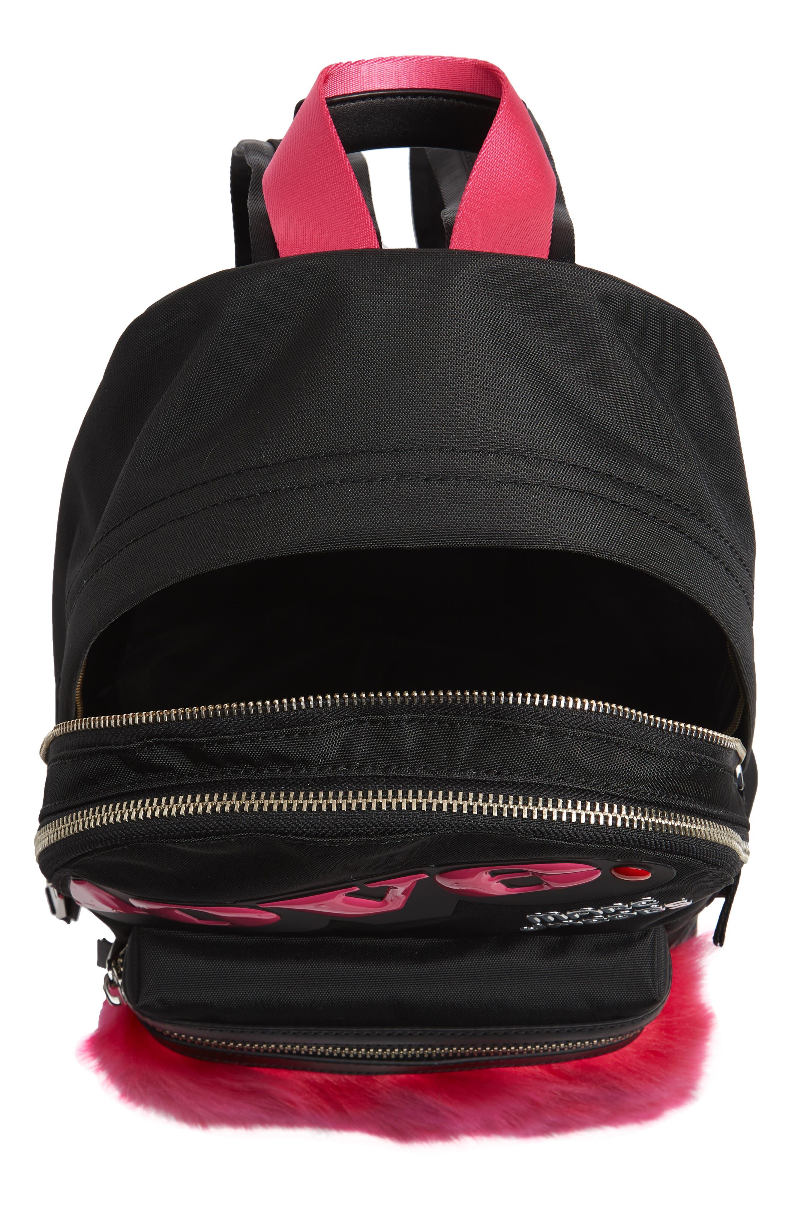Love Medium Trek Nylon & Genuine Shearling Backpack,                             Alternate thumbnail 4, color,                             002