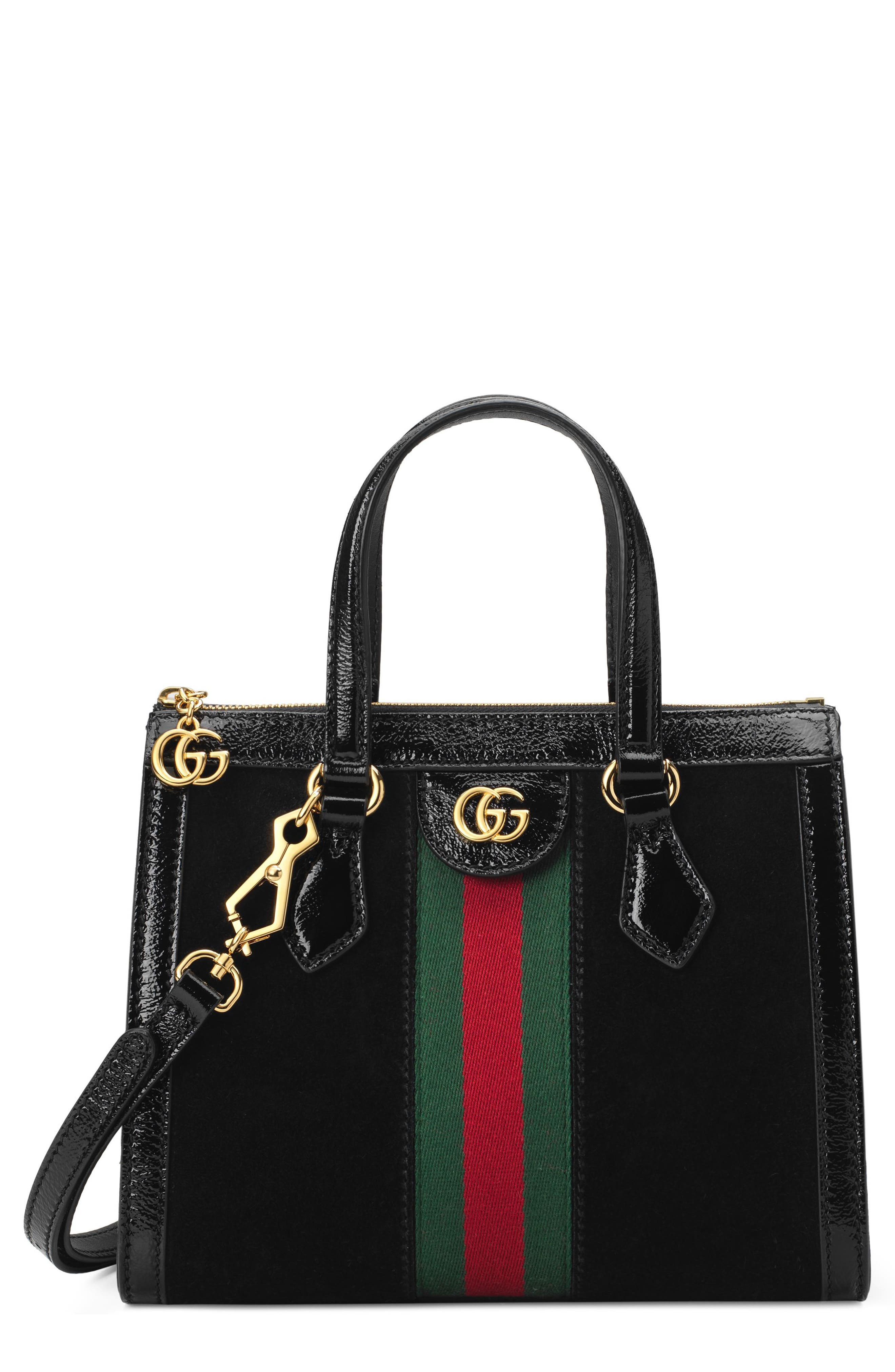 Small Ophidia House Web Suede Satchel - Black in Nero/ Vert/ Red