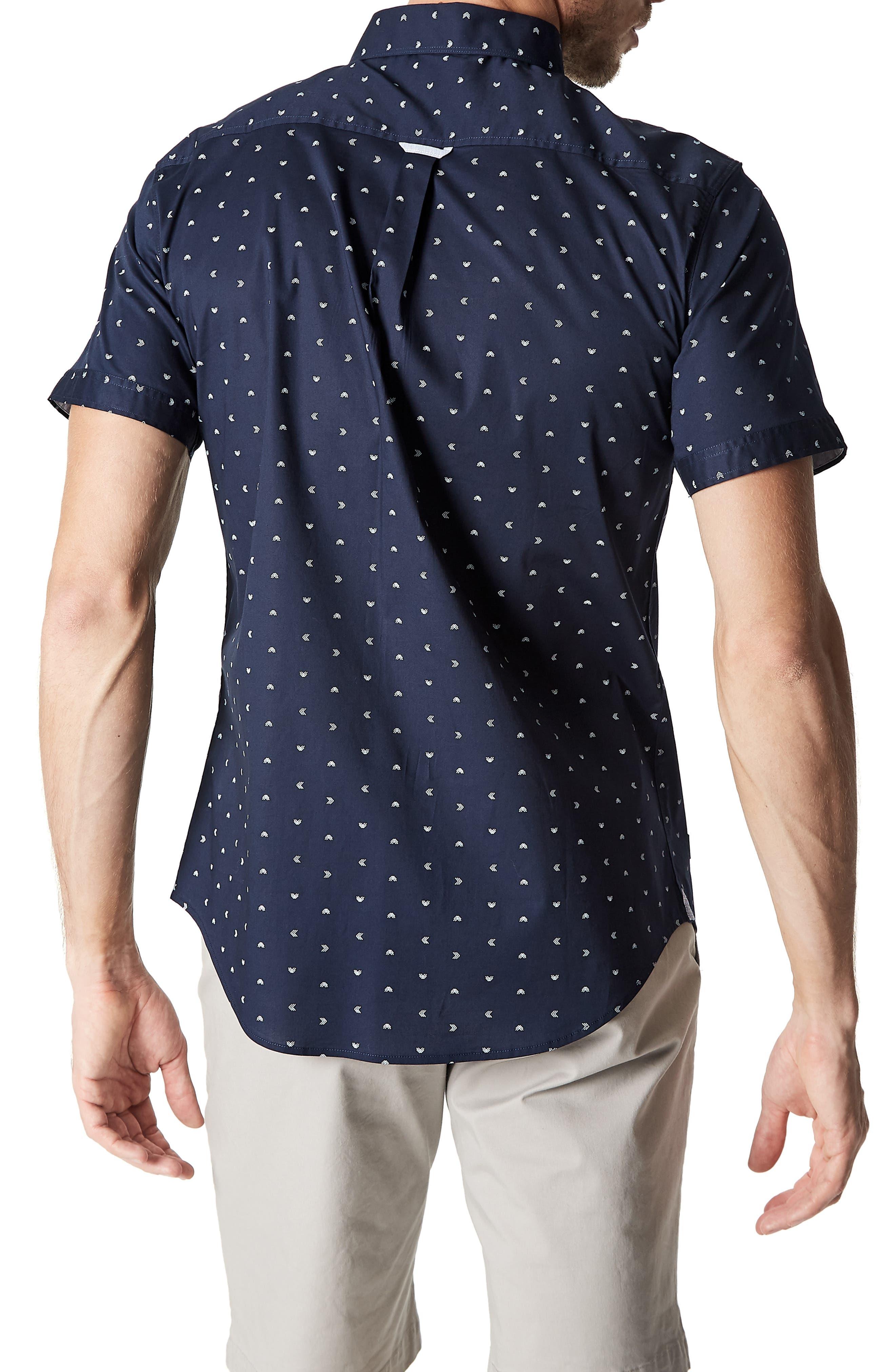 7 DIAMONDS,                             Rhythm Nation Trim Fit Stretch Short Sleeve Sport Shirt,                             Alternate thumbnail 3, color,                             NAVY