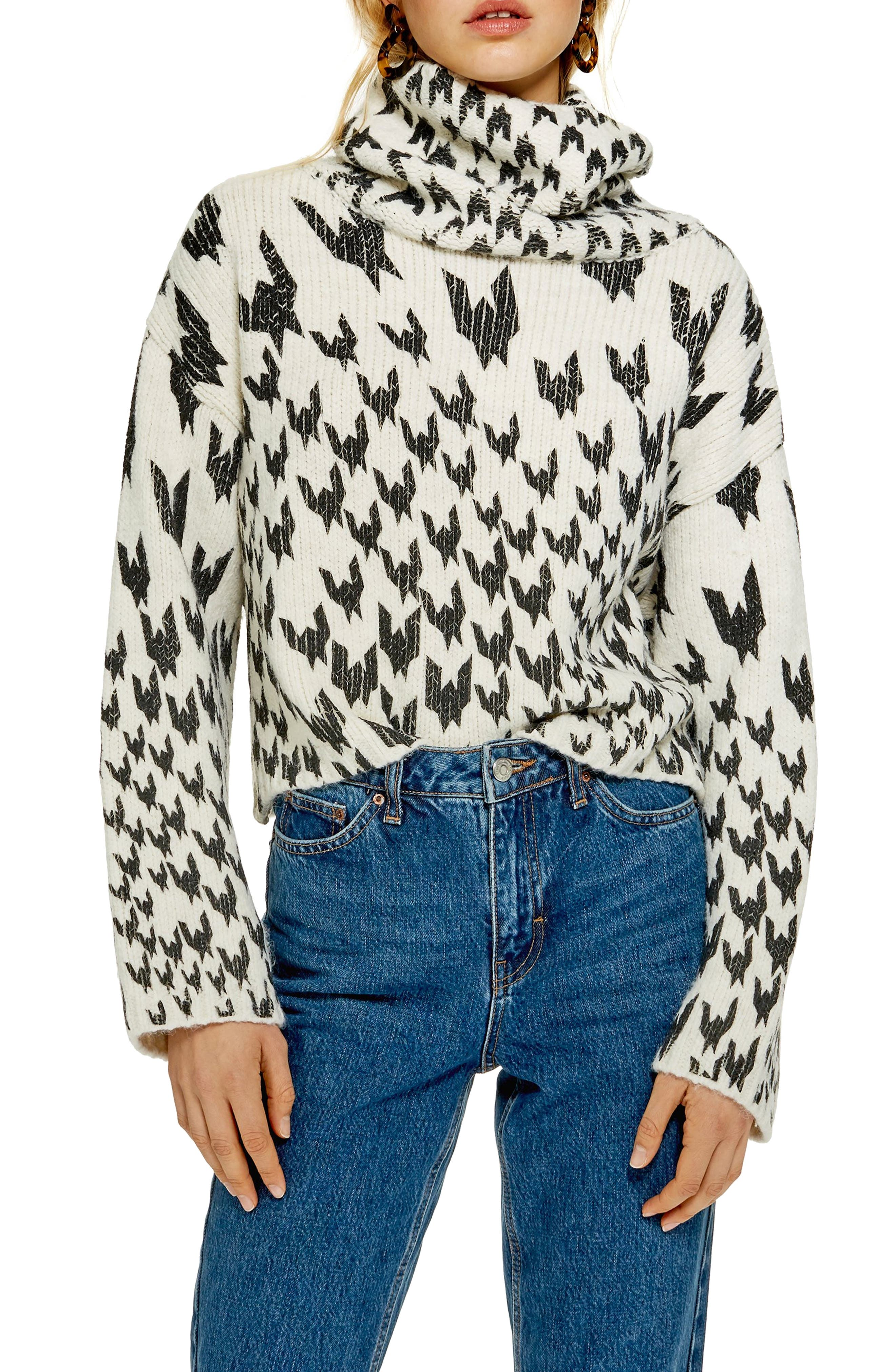 TOPSHOP Dogtooth Chunky Roll Neck Sweater, Main, color, IVORY MULTI