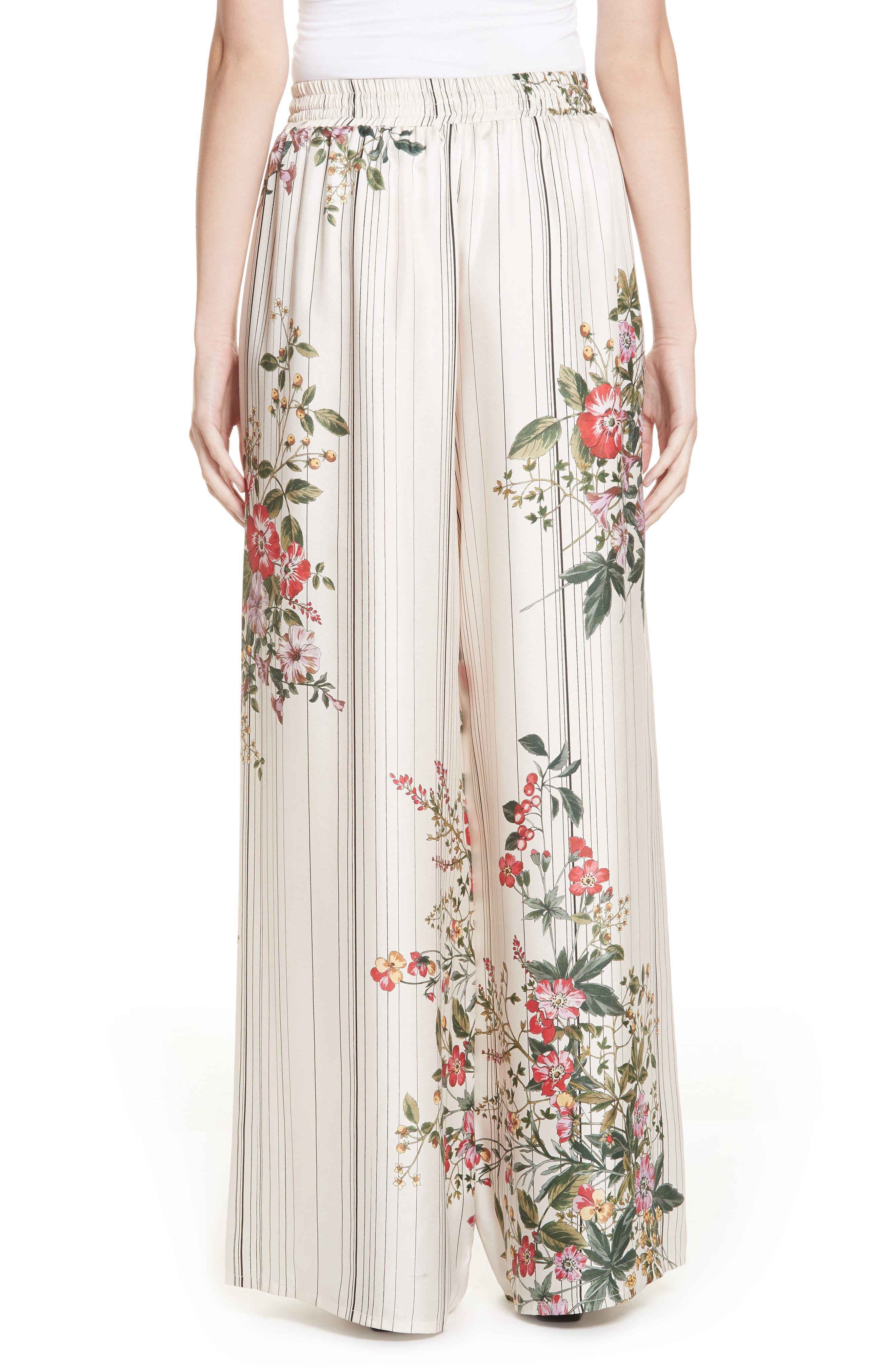 Conner Floral & Stripe Wide Leg Silk Pants,                             Alternate thumbnail 2, color,                             MULTI IVOIRE