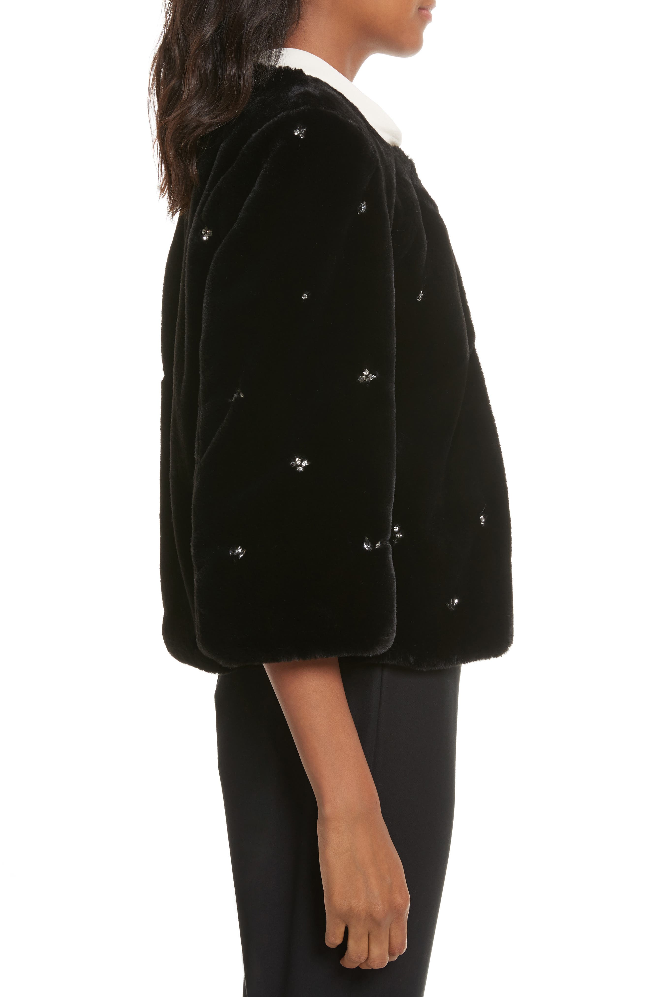 Nayland Embellished Faux Fur Jacket,                             Alternate thumbnail 3, color,