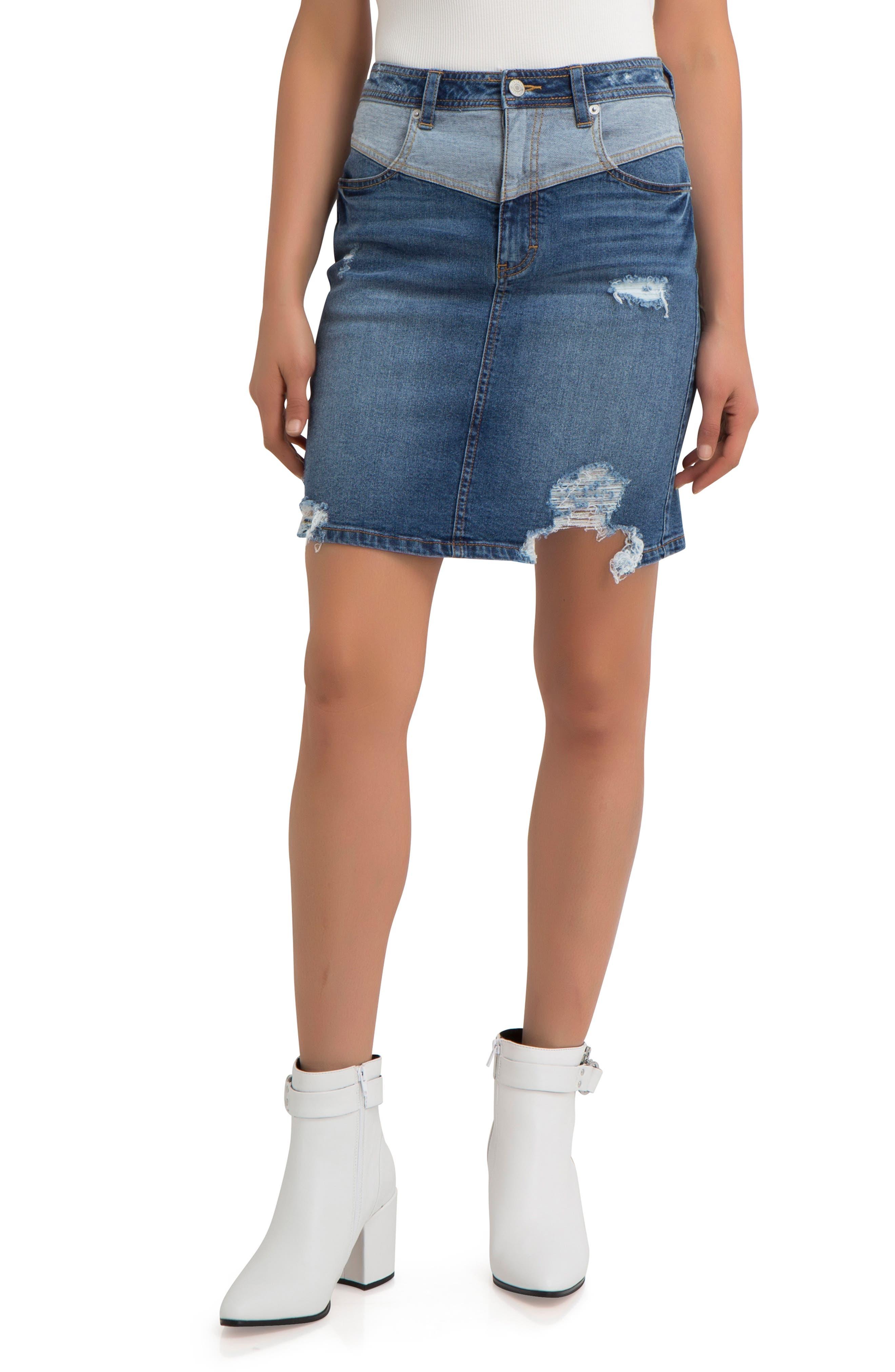 Jordache V-Front Ripped Denim Skirt, Blue