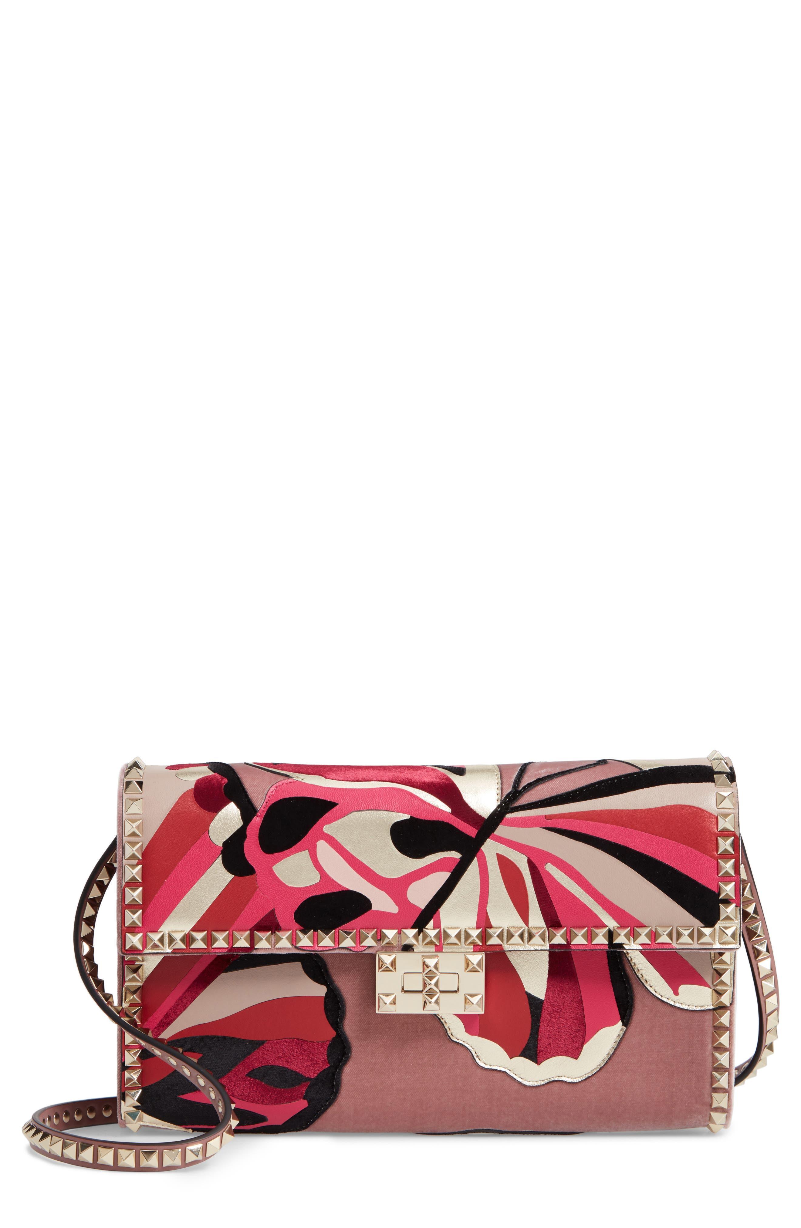 VALENTINO GARAVANI,                             Patchwork Butterfly Leather & Textile Shoulder Bag,                             Main thumbnail 1, color,                             LIP