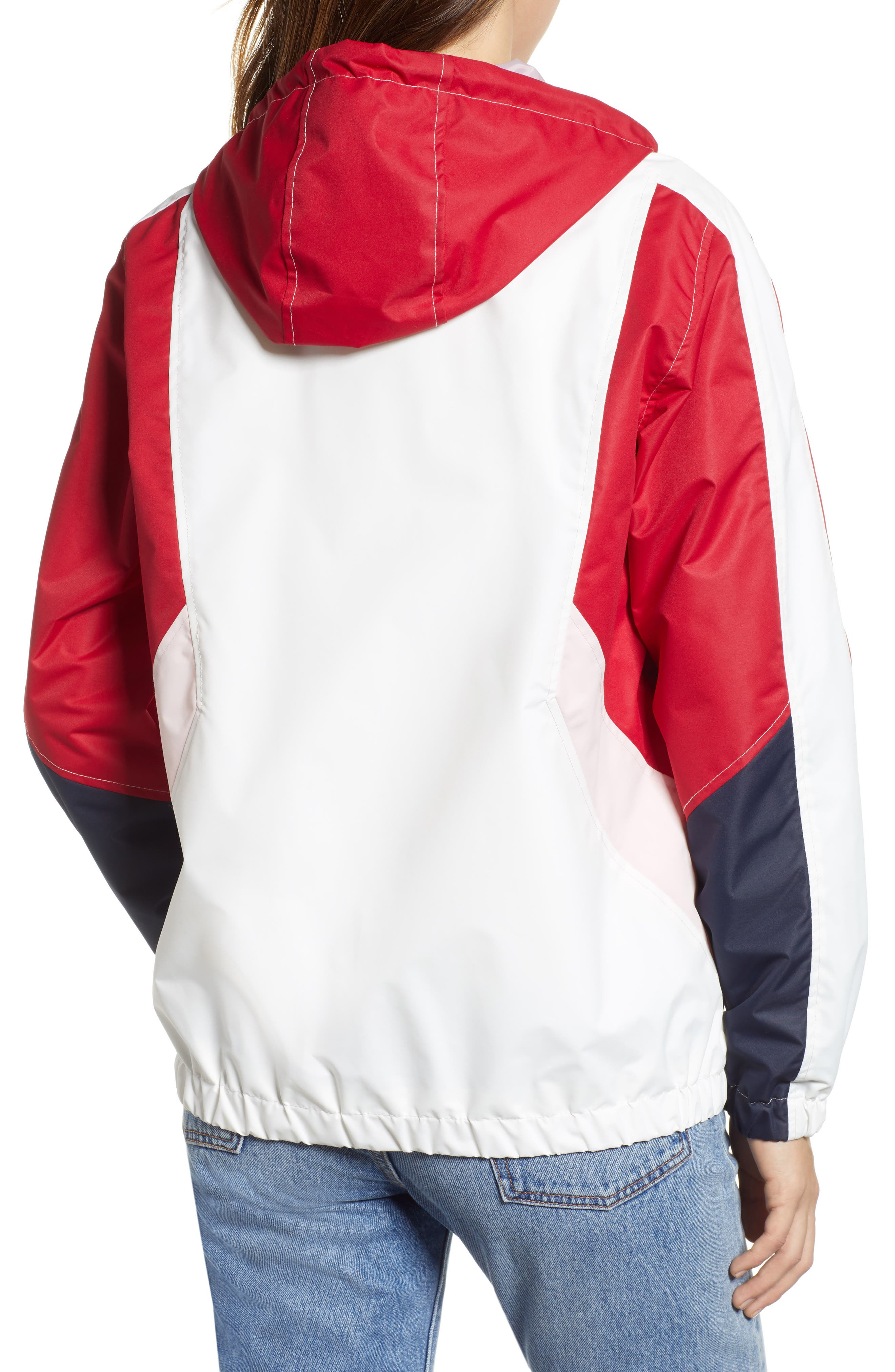 Retro Colorblock Bomber Jacket,                             Alternate thumbnail 2, color,                             PINK-RED