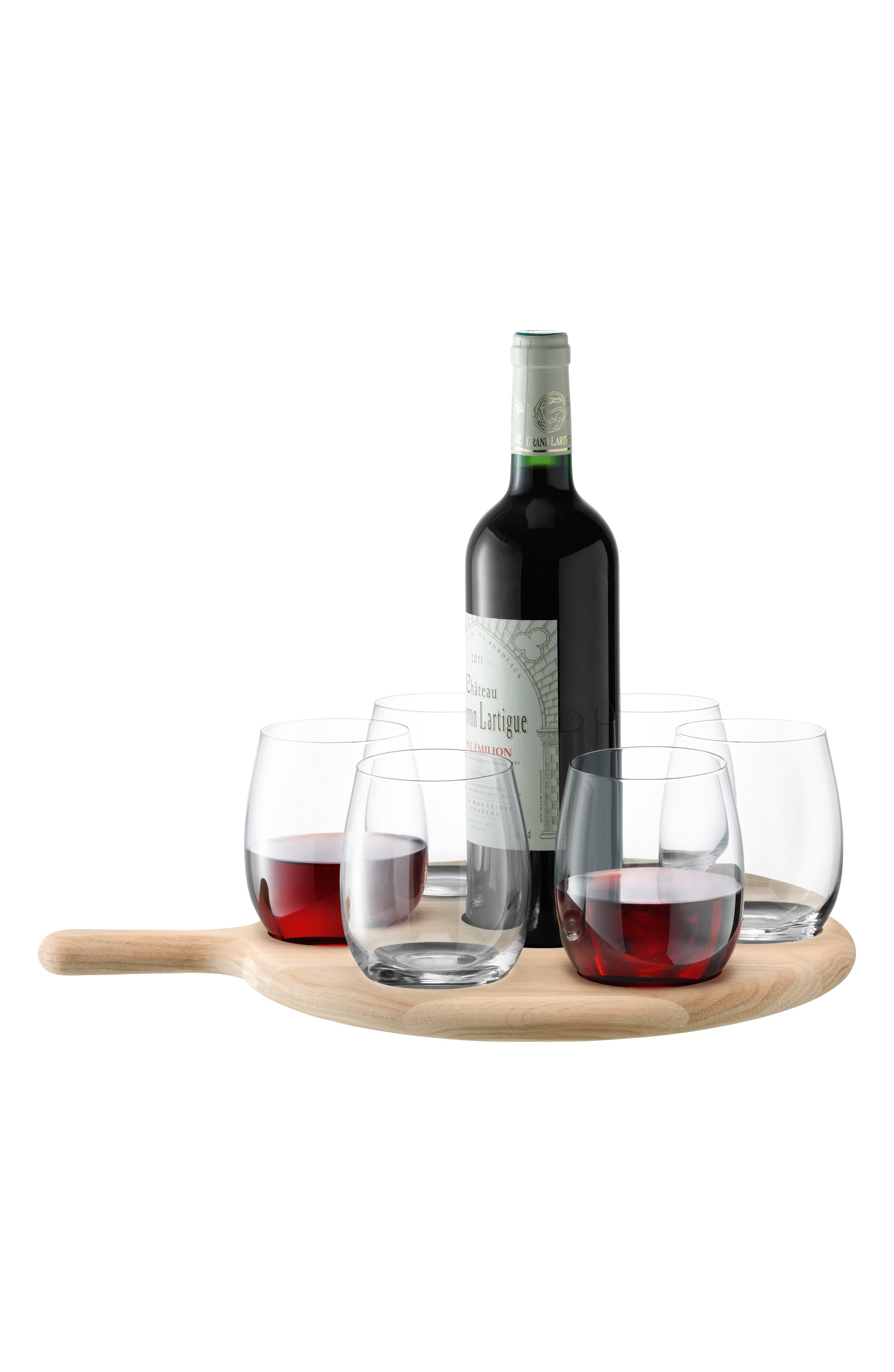 LSA Set of 6 Stemless Wine Glasses & Paddle, Main, color, CLEAR