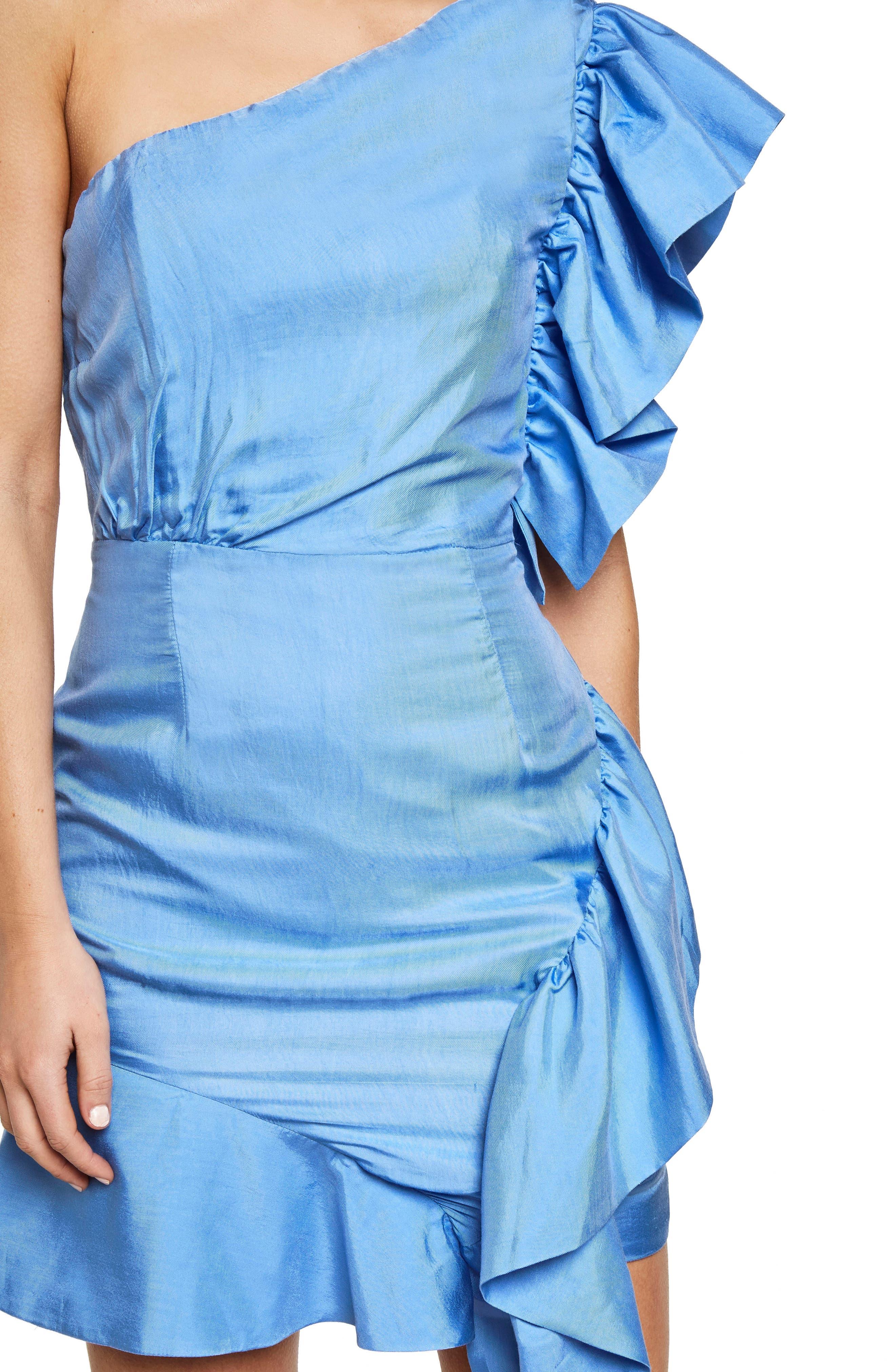 Lucia Frill One-Shoulder Dress,                             Alternate thumbnail 8, color,