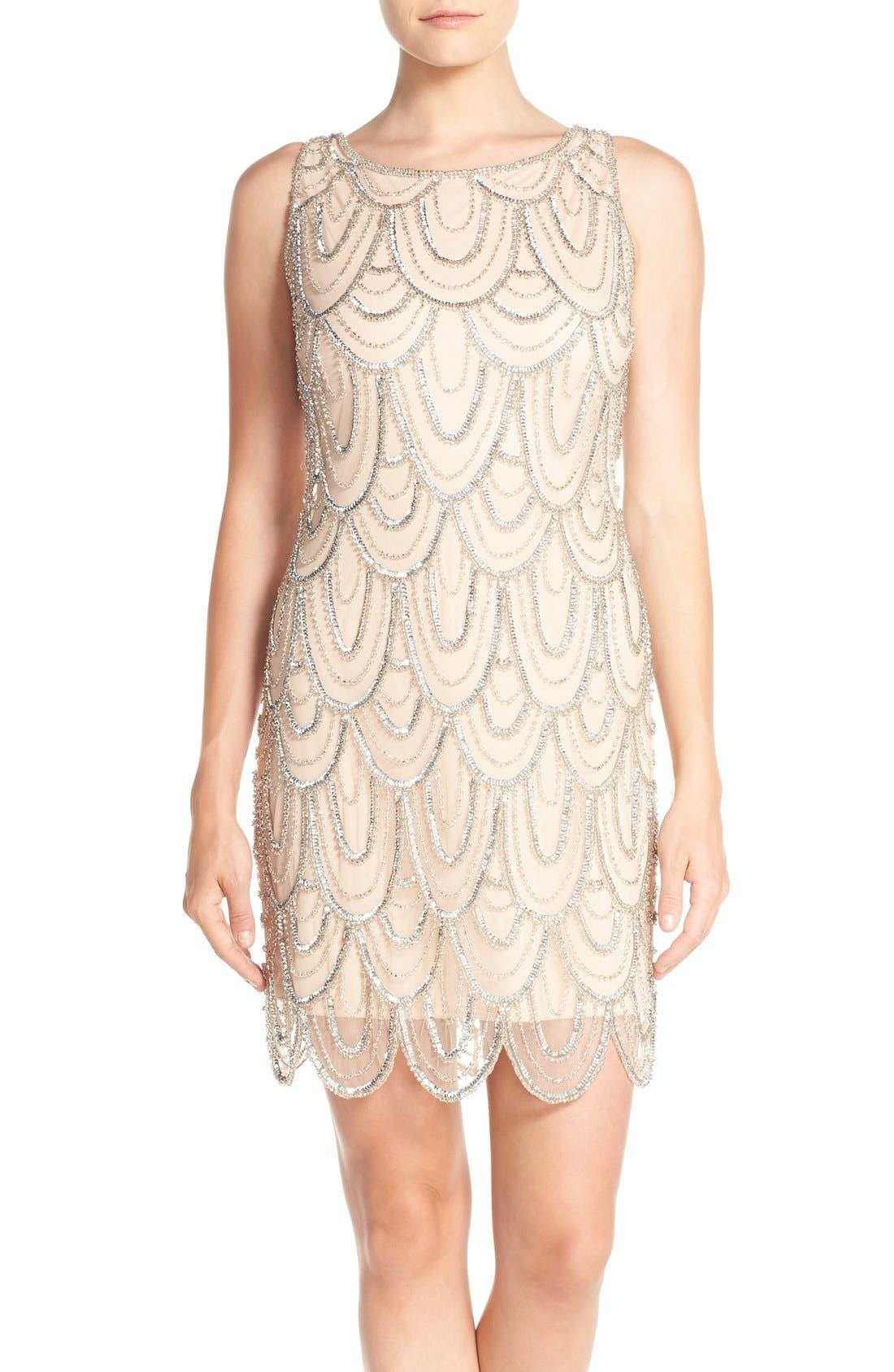 Embellished Mesh Sheath Dress,                             Alternate thumbnail 38, color,