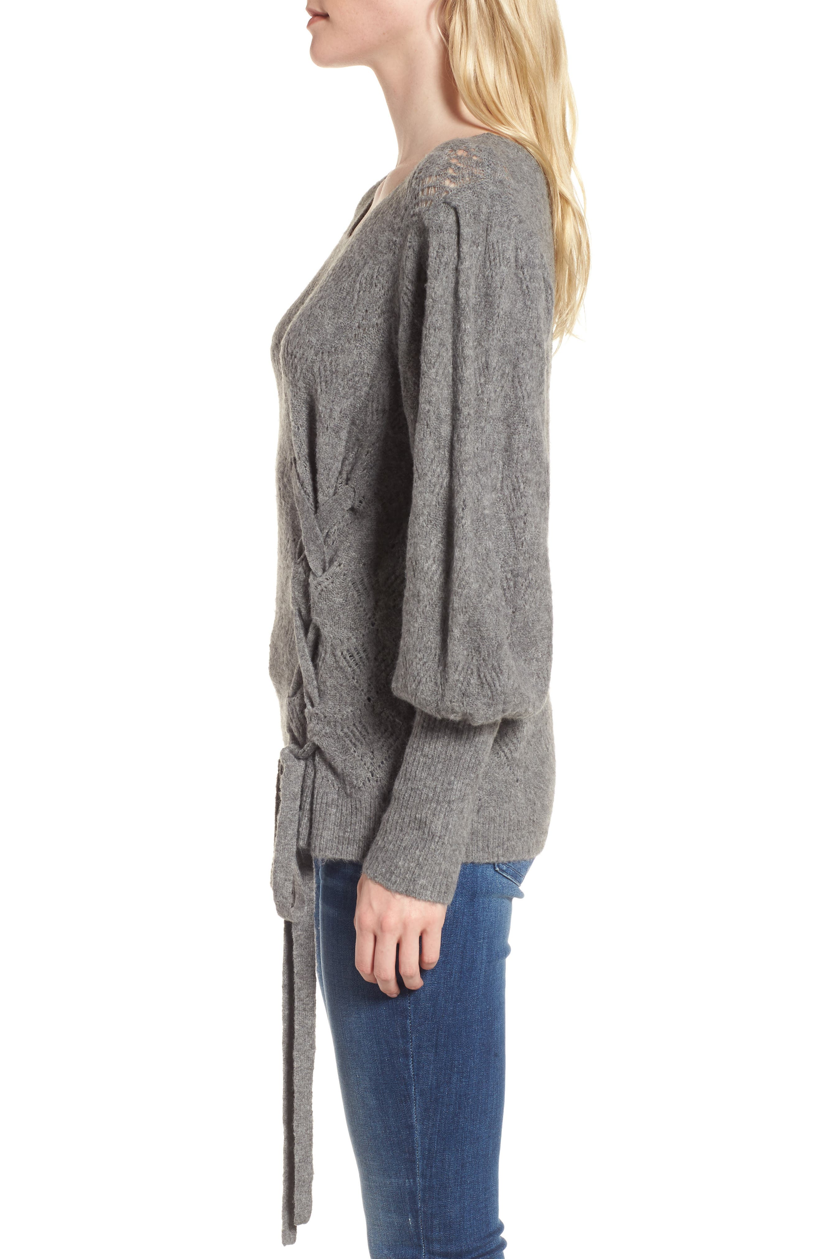 Tied Pointelle Knit Sweater,                             Alternate thumbnail 5, color,