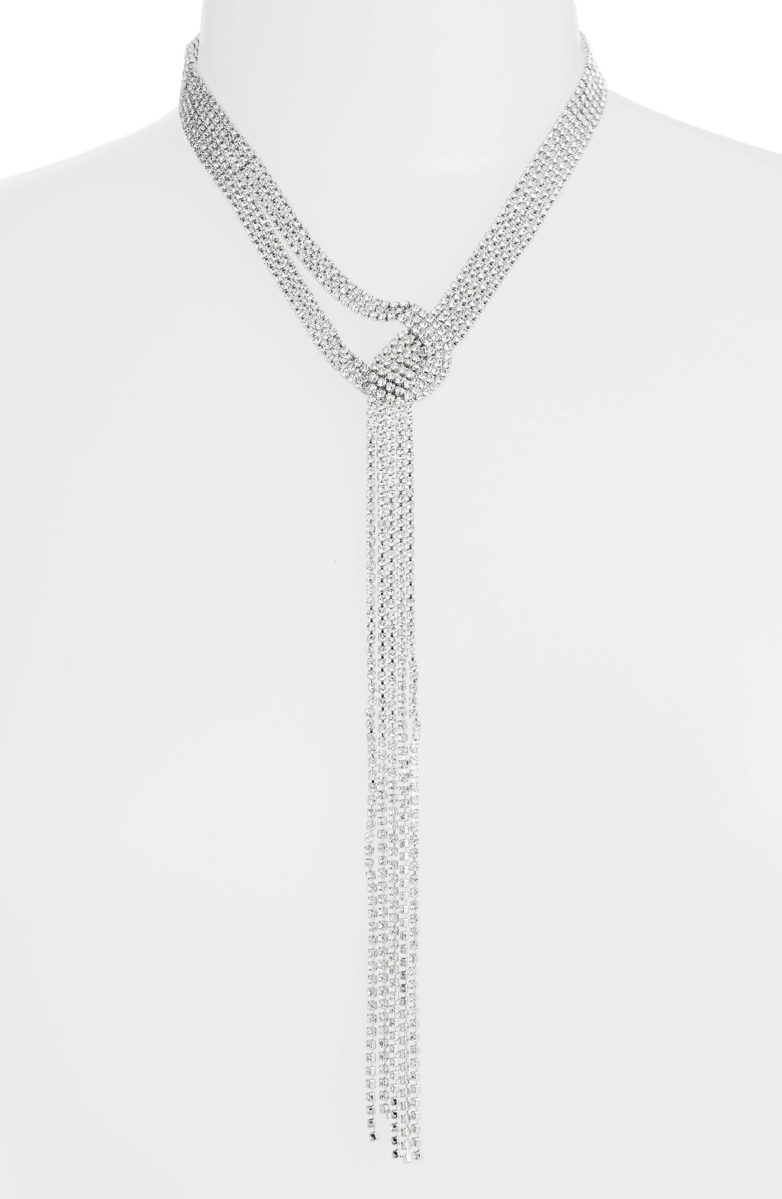 CRISTABELLE,                             Ring Post Multistrand Lariat Necklace,                             Main thumbnail 1, color,                             040