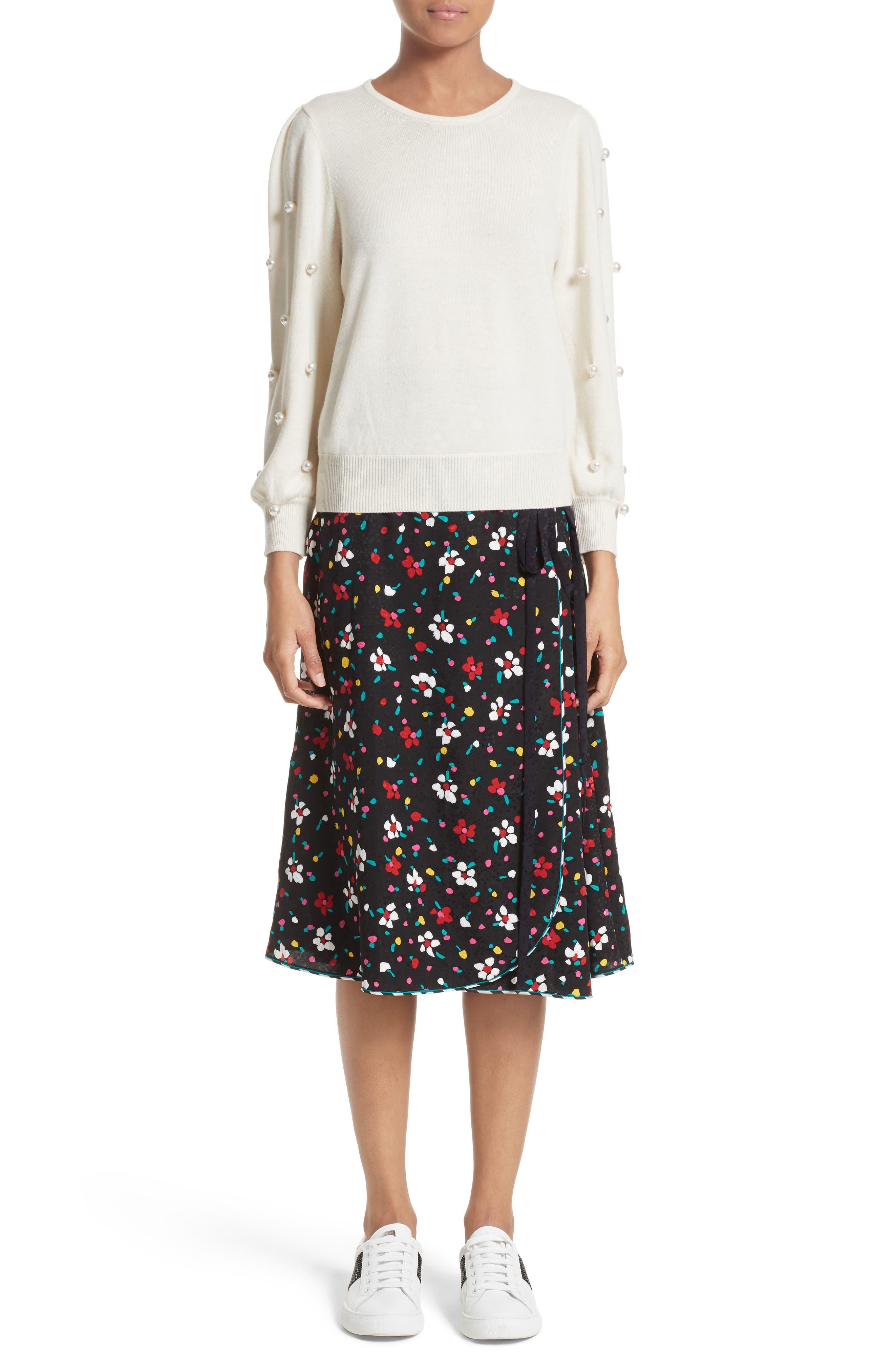 Floral Silk Jacquard Wrap Skirt,                             Alternate thumbnail 7, color,                             002