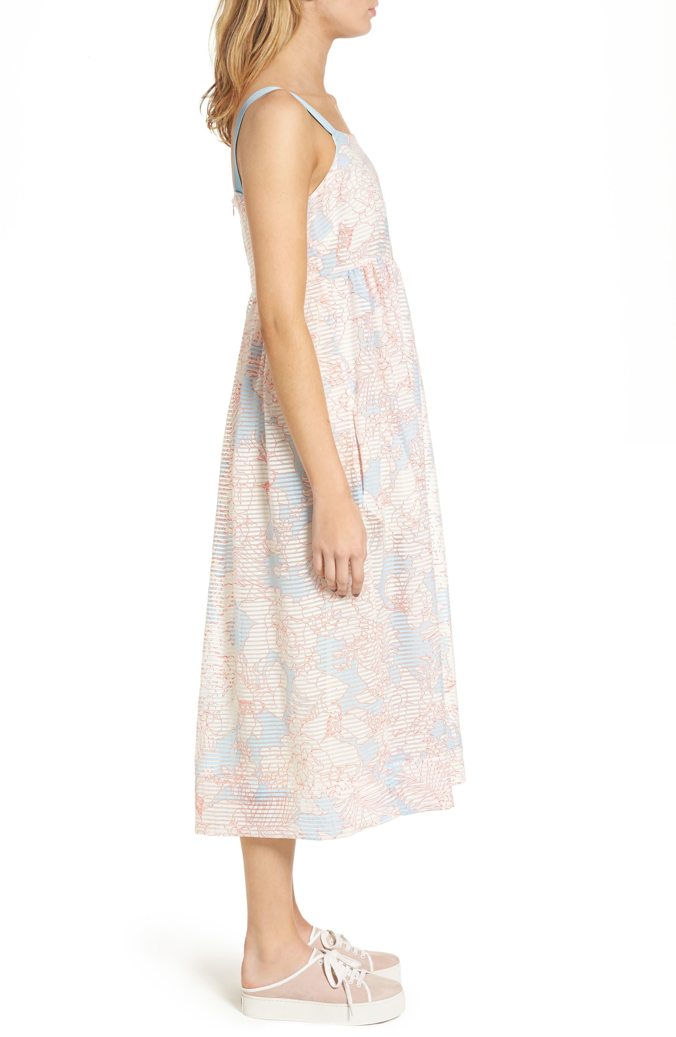 Bahamas Print Midi Dress,                             Alternate thumbnail 3, color,                             400