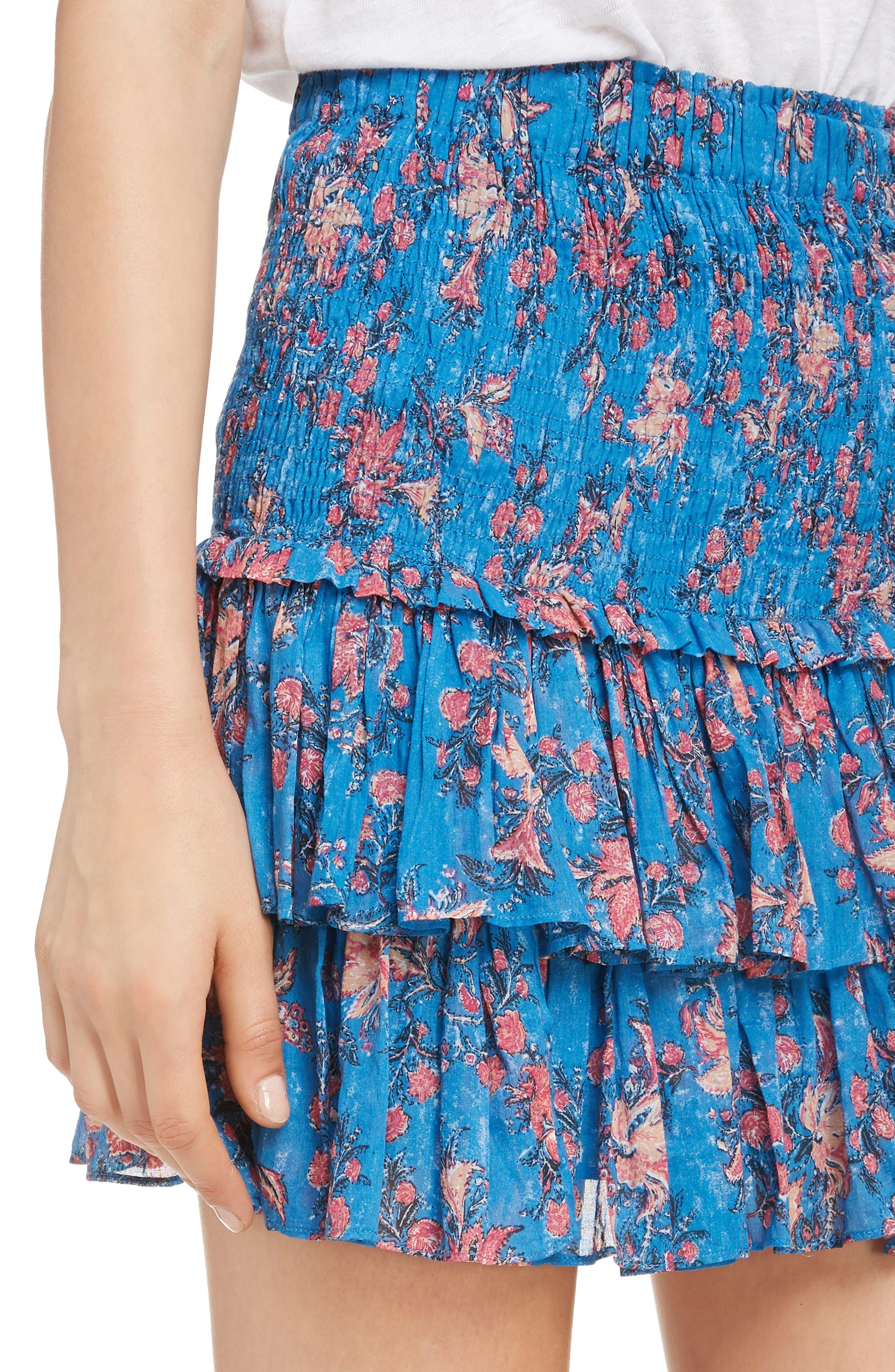 Naomi Shirred Miniskirt,                             Alternate thumbnail 4, color,                             BLUE