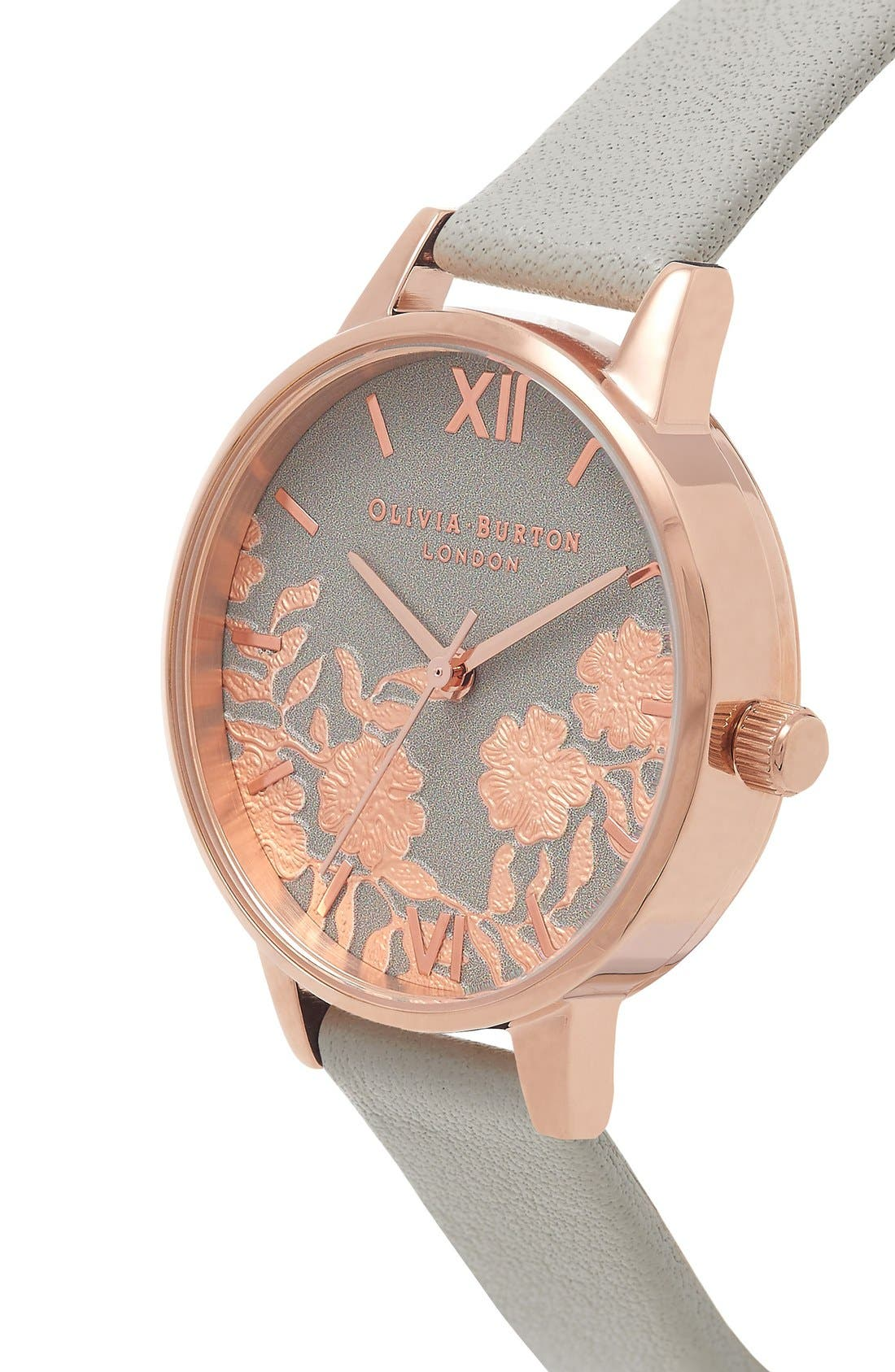 Lace Detail Leather Strap Watch, 30mm,                             Alternate thumbnail 6, color,                             020
