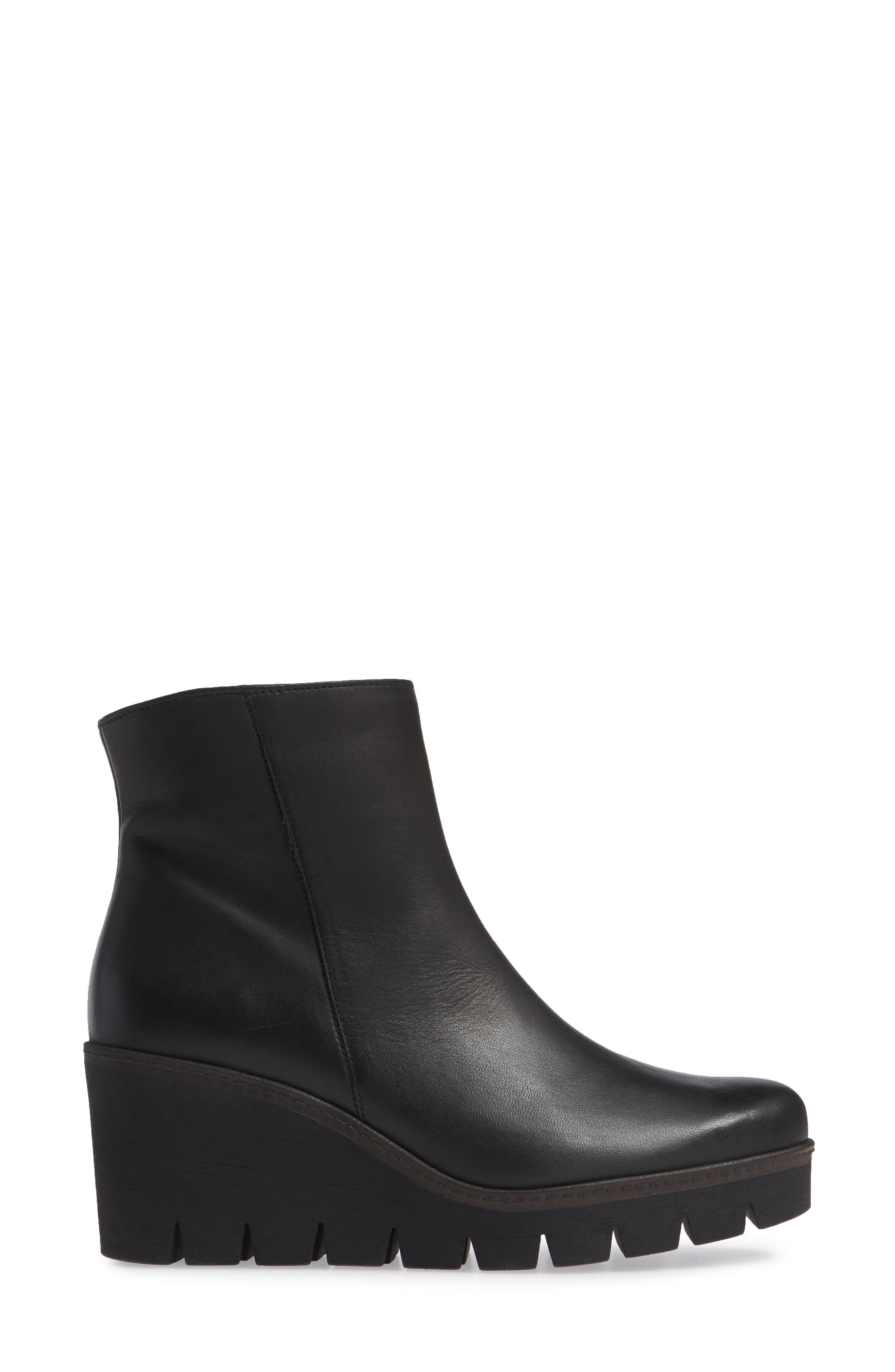 Friendly Wedge Bootie,                             Alternate thumbnail 3, color,                             BLACK LEATHER