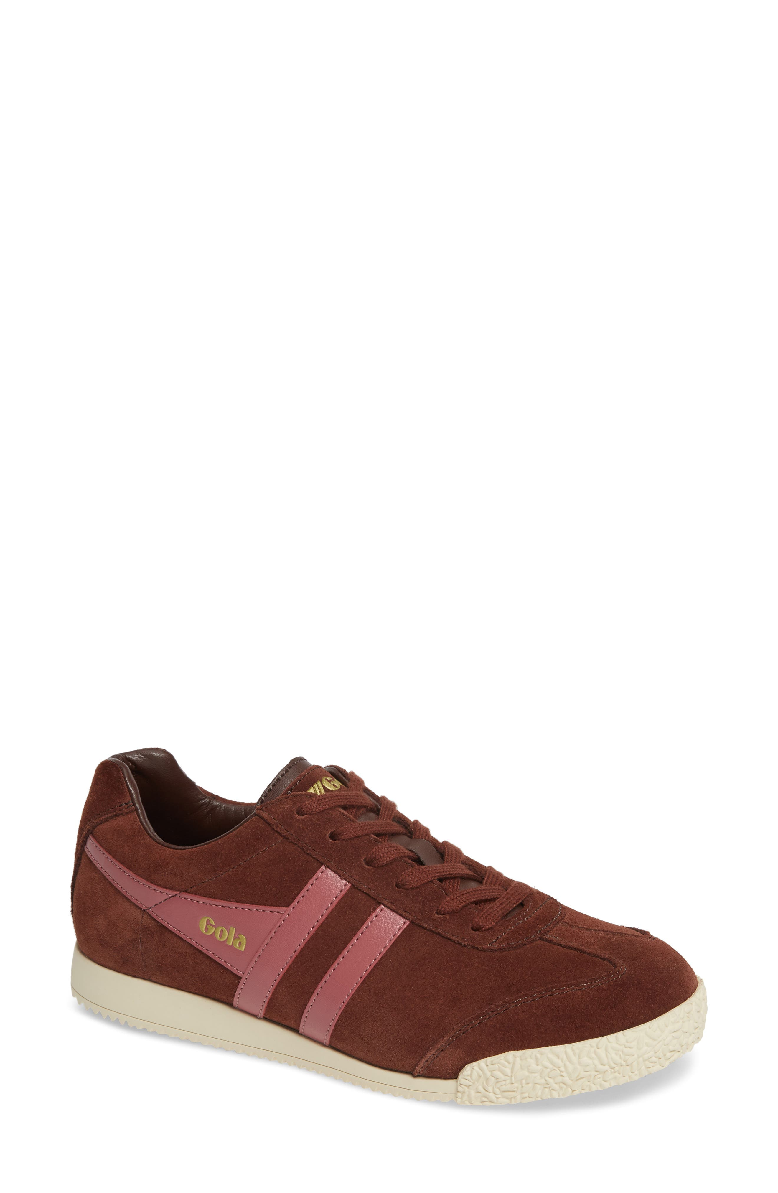Harrier Suede Low Top Sneaker,                             Main thumbnail 1, color,                             COGNAC/ DUSTY ROSE