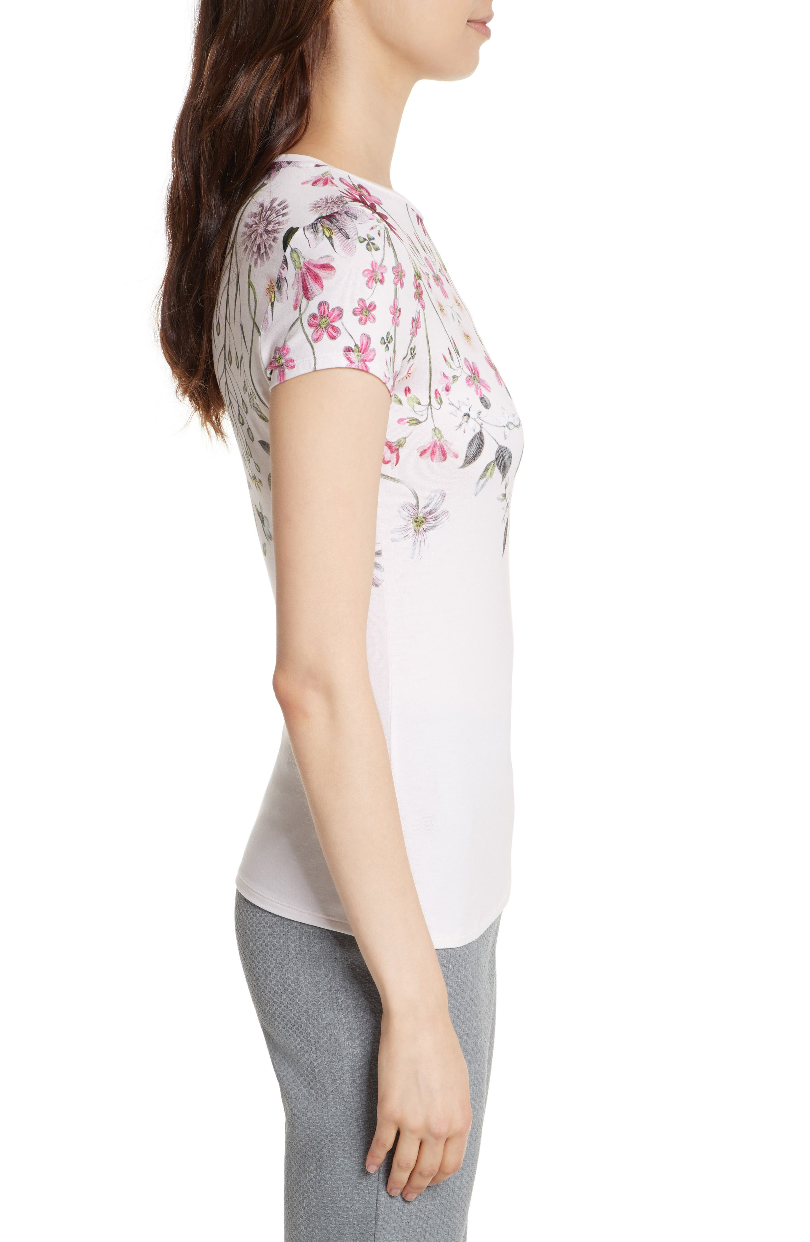 Ebone Unity Floral Fitted Tee,                             Alternate thumbnail 3, color,                             672