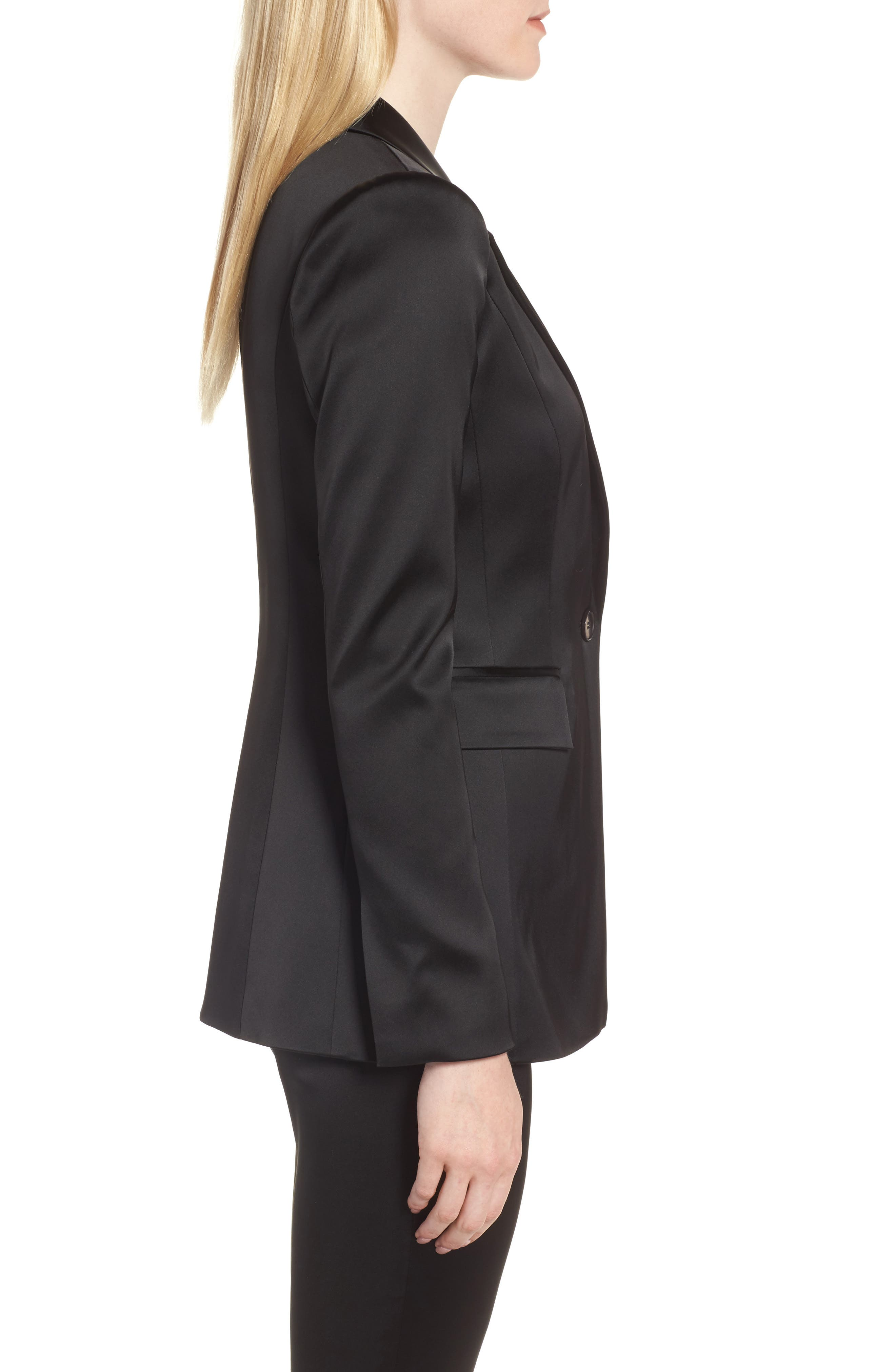 Puff Shoulder Satin Blazer,                             Alternate thumbnail 3, color,