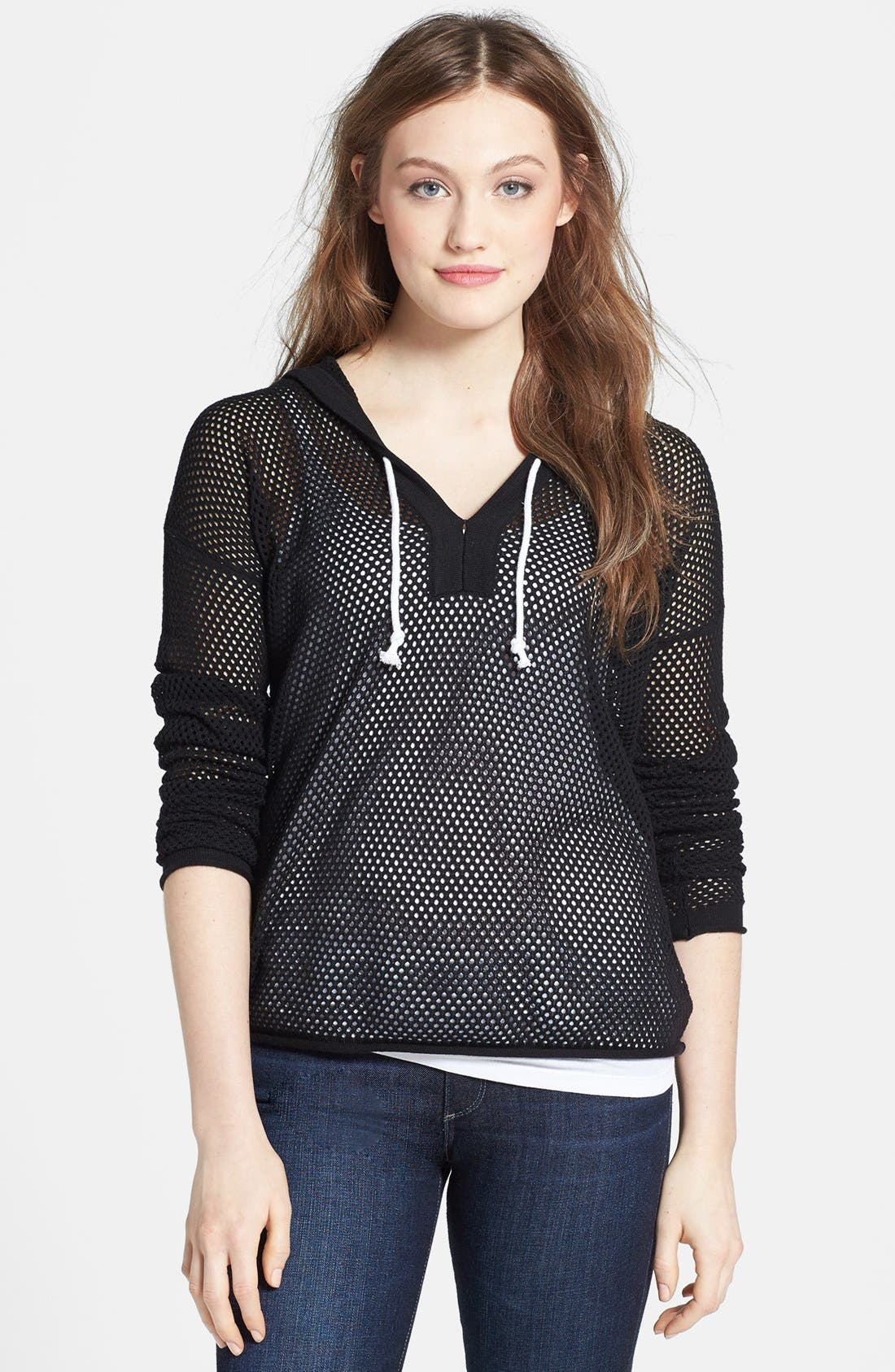 SWEET ROMEO,                             'Ava' Hooded Open Stitch Sweater,                             Main thumbnail 1, color,                             003