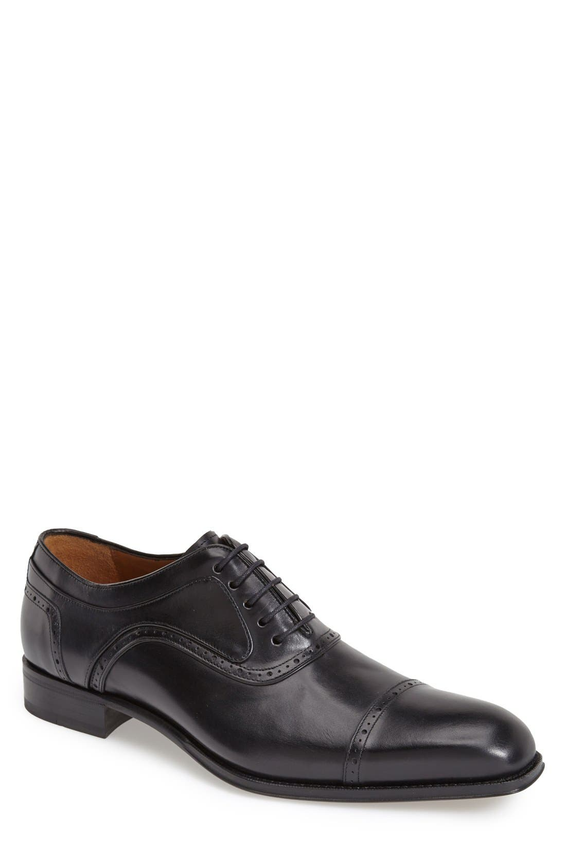 'March' Cap Toe Oxford,                             Main thumbnail 1, color,                             BLACK