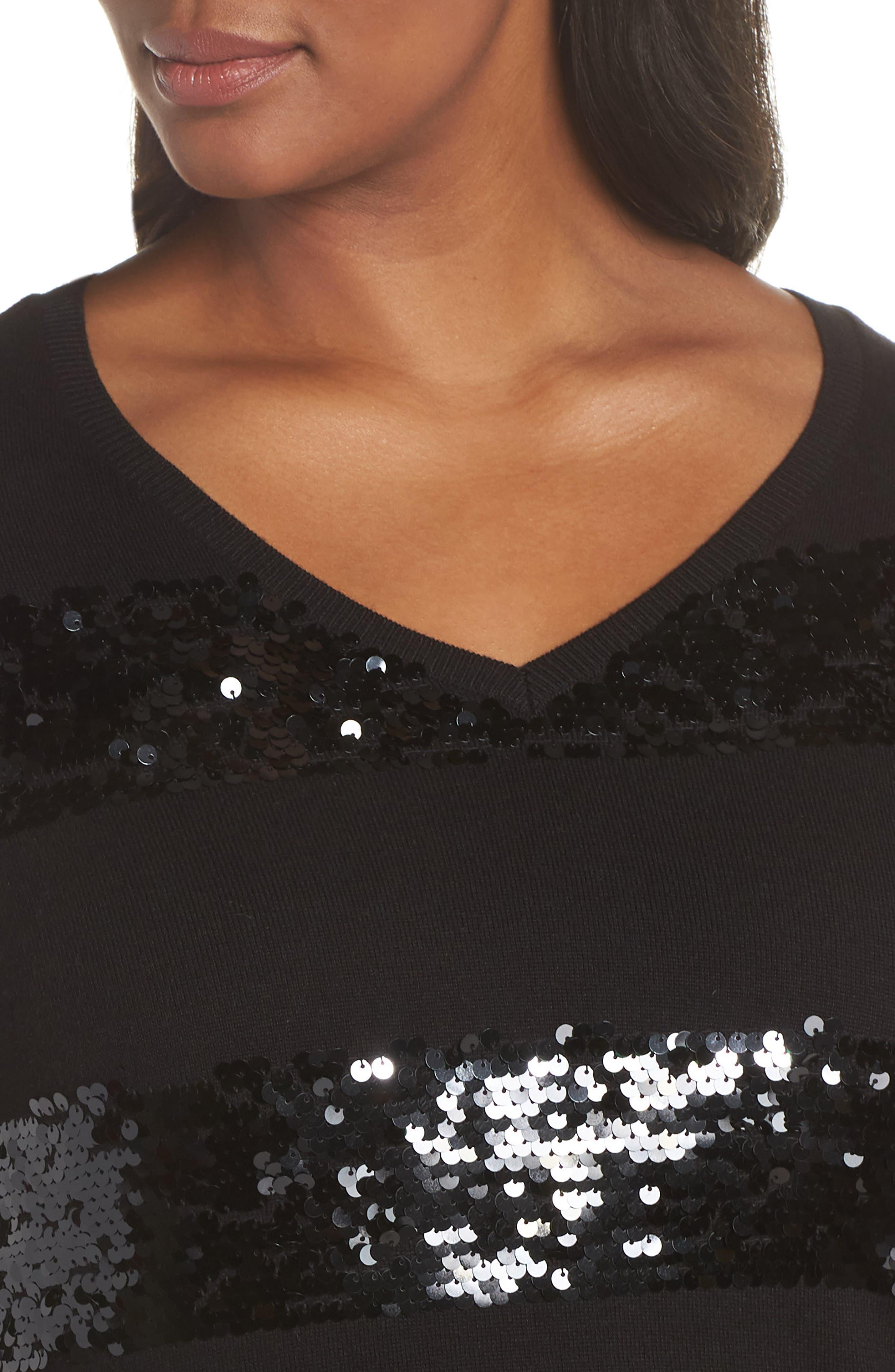 Sequin Stripe Pullover,                             Alternate thumbnail 4, color,                             BLACK