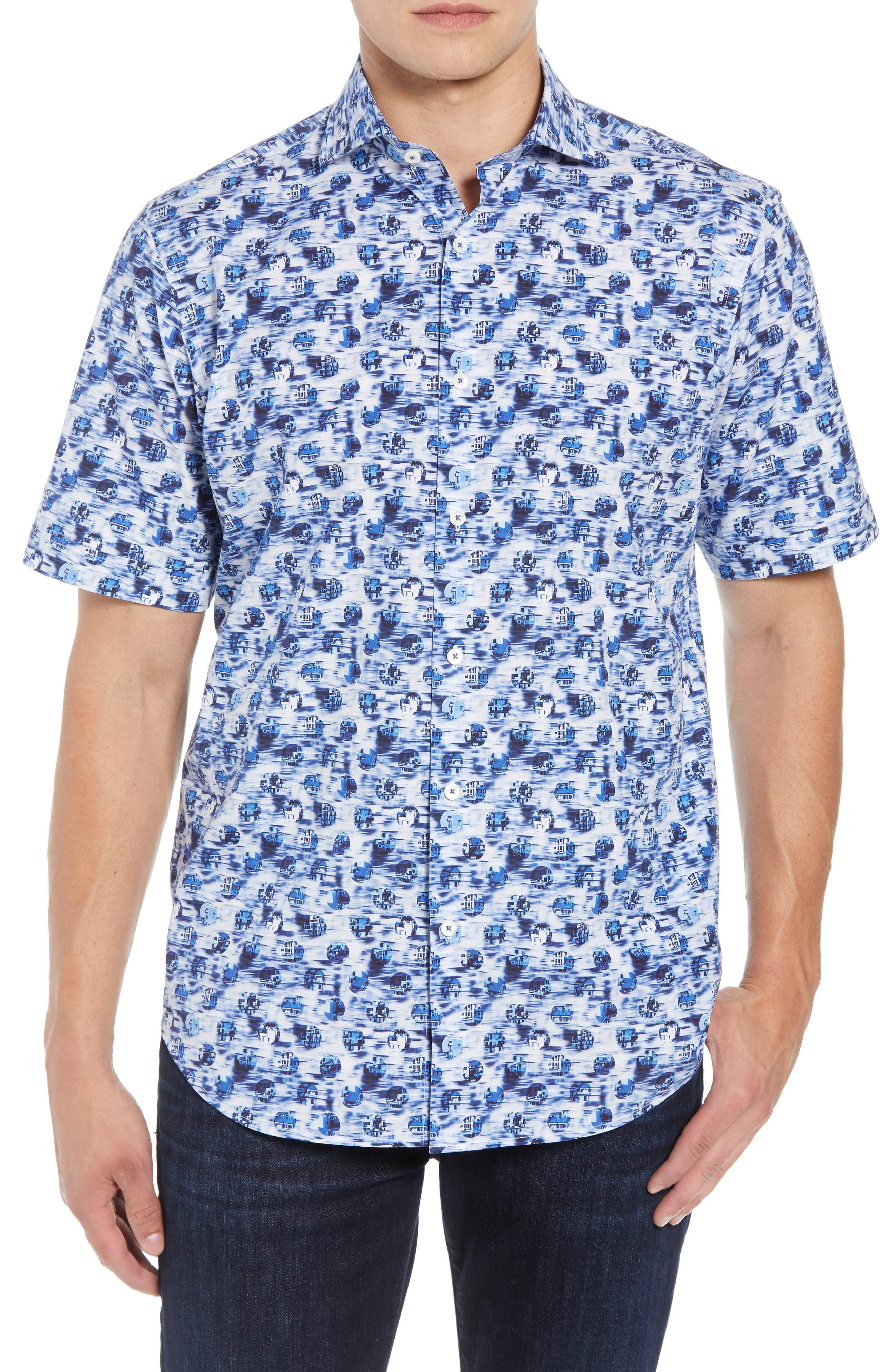 BUGATCHI,                             Classic Fit Print Sport Shirt,                             Main thumbnail 1, color,                             DUSTY BLUE