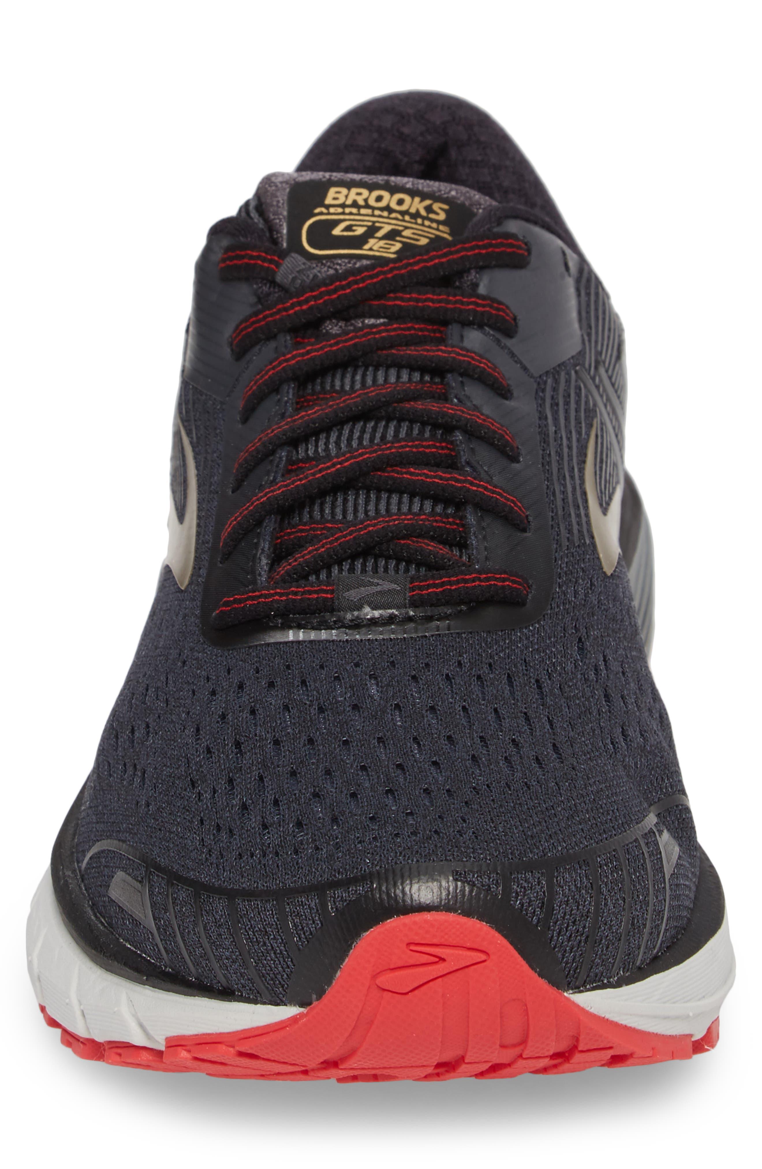 Adrenaline GTS 18 Running Shoe,                             Alternate thumbnail 4, color,                             BLACK/ GOLD/ RED