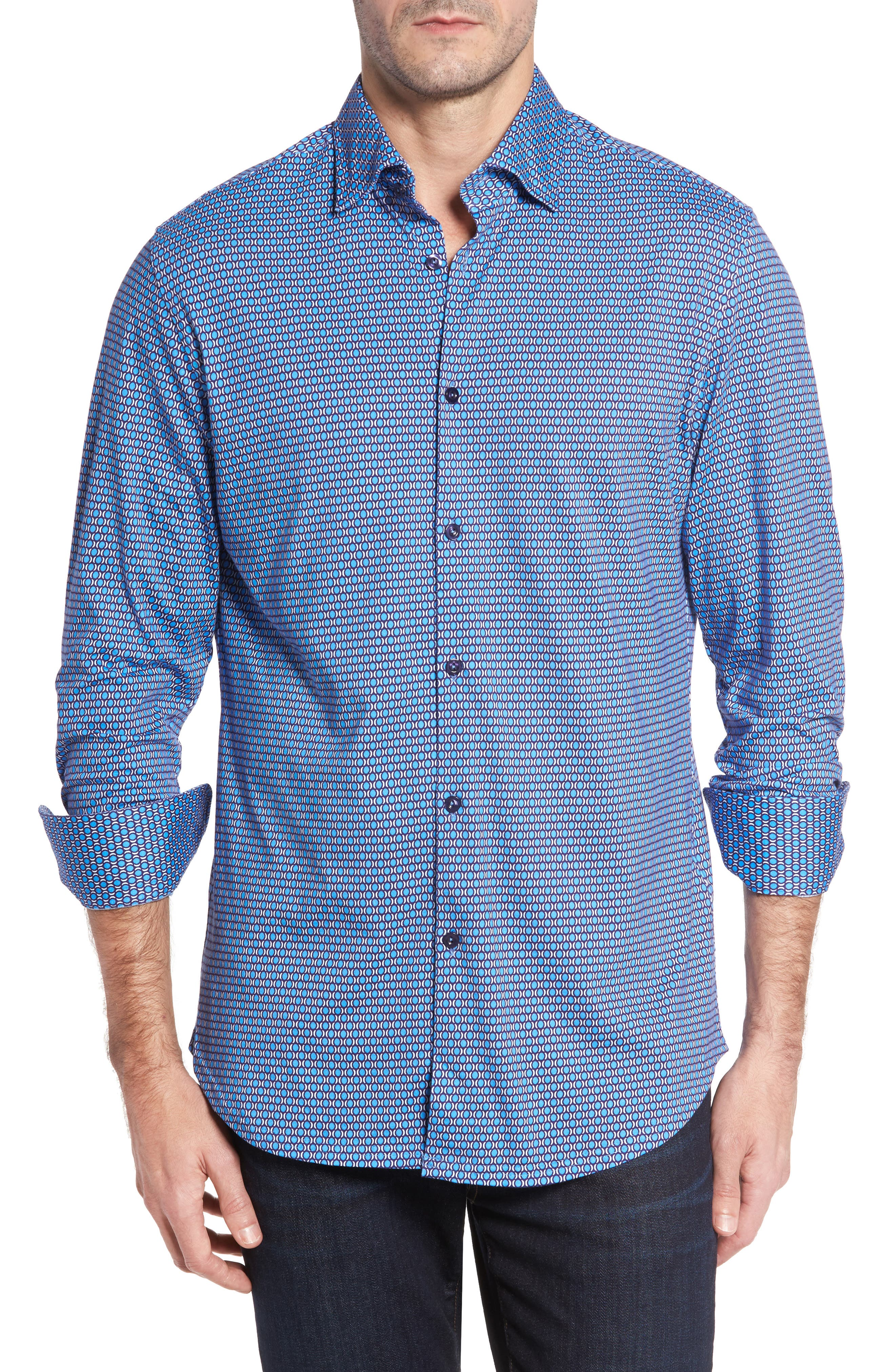 Slim Fit Geo Knit Sport Shirt,                             Main thumbnail 1, color,                             430