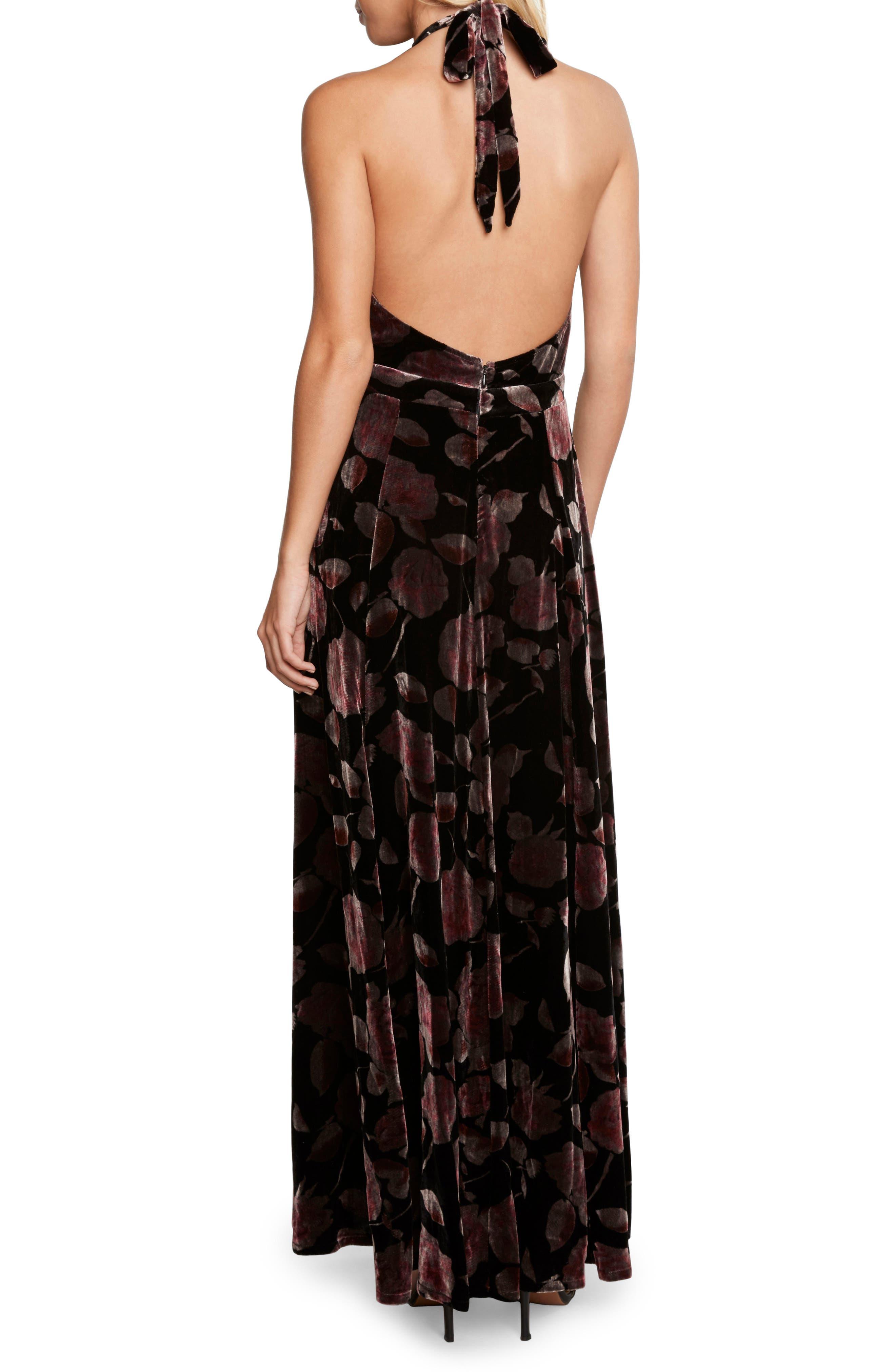 Velvet Halter Maxi Dress,                             Alternate thumbnail 2, color,                             001