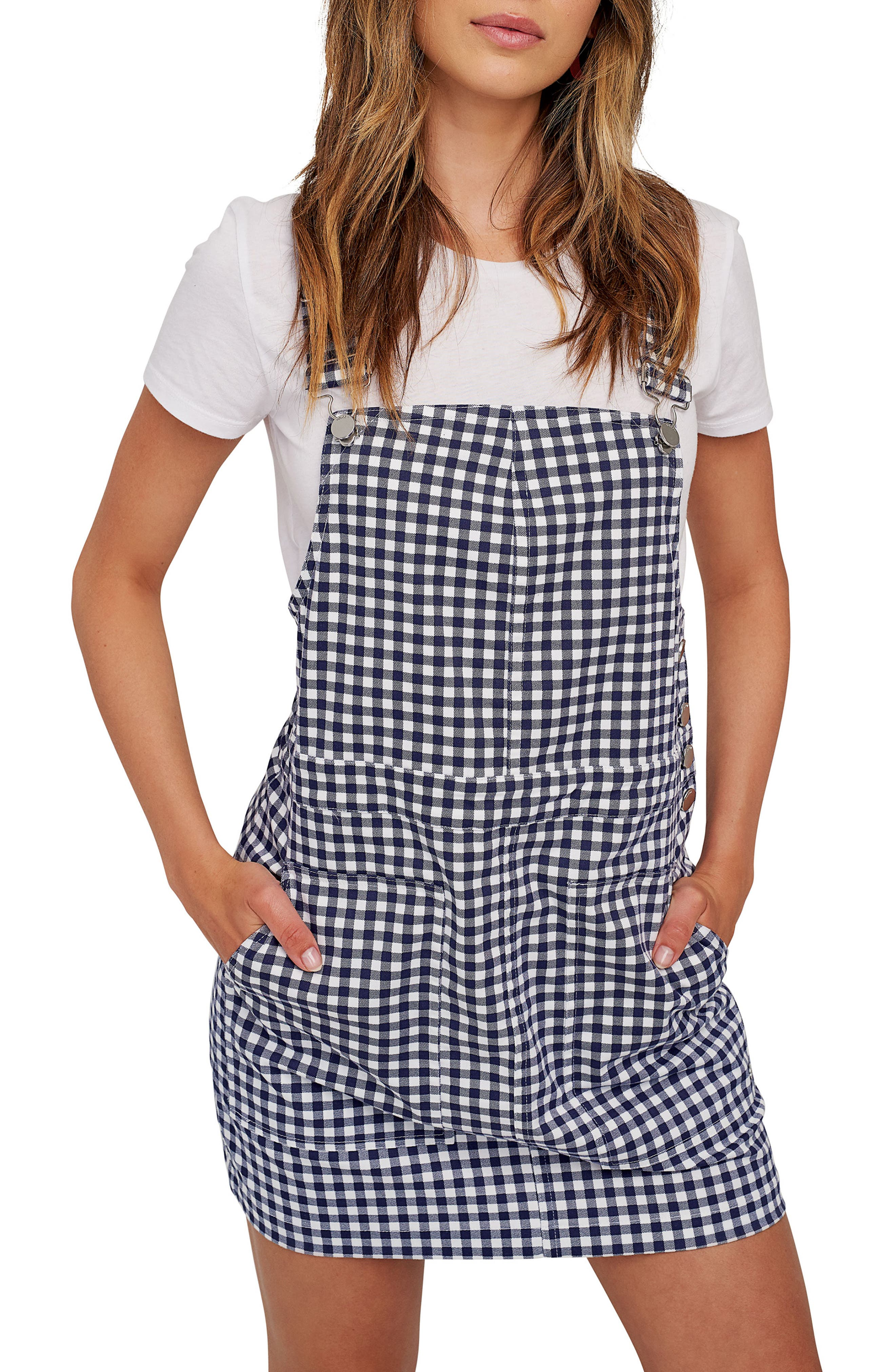 Volcom X Georgia May Jagger Frochickie Gingham Pinafore Dress, Blue