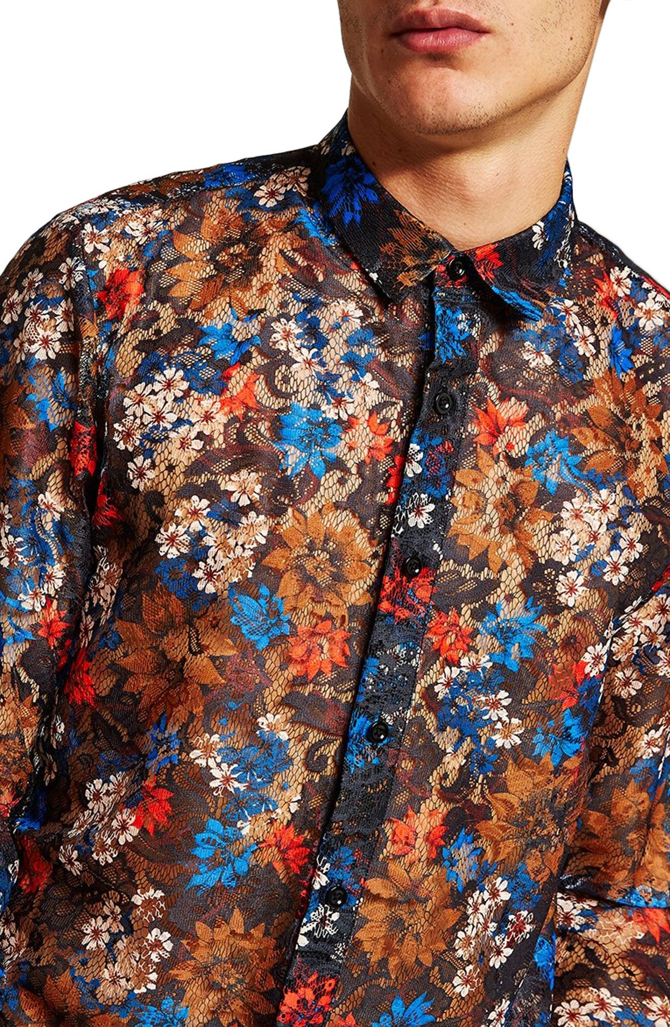 Floral Lace Shirt,                             Alternate thumbnail 2, color,                             BLUE MULTI