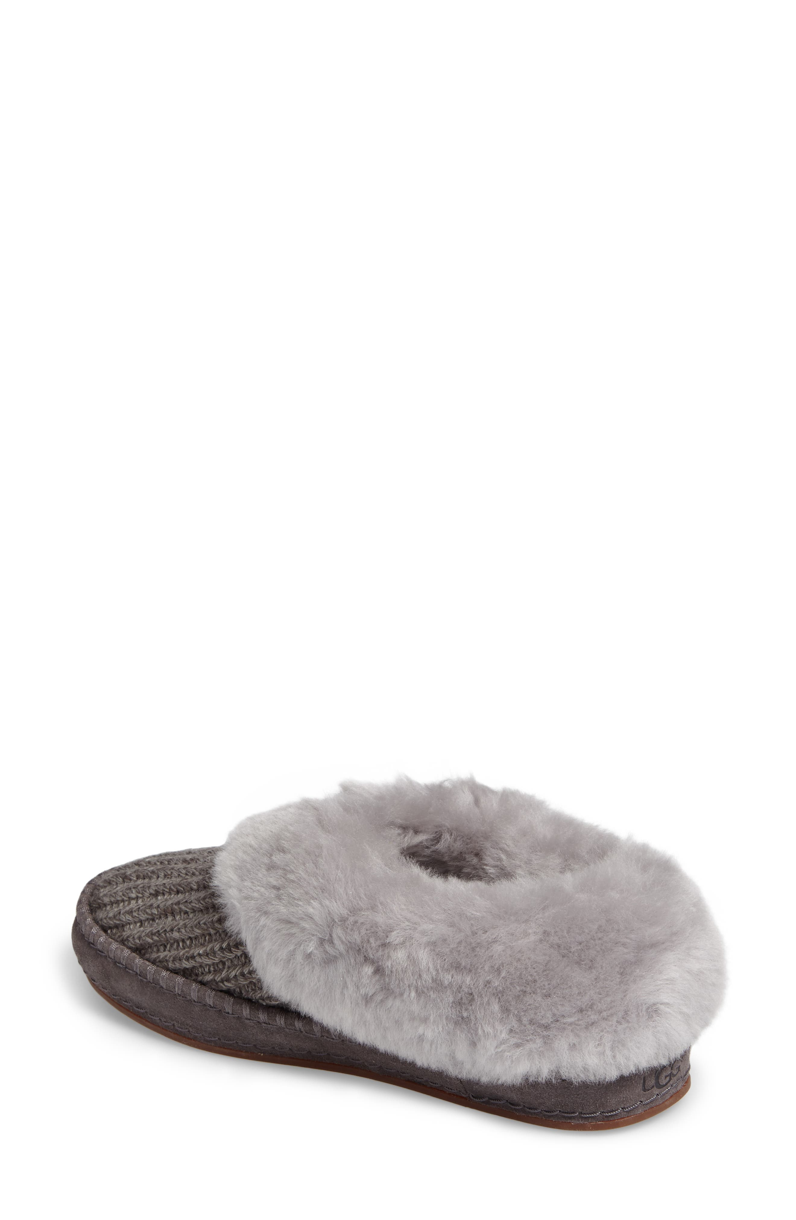Wrin Rib-Knit & Genuine Shearling Slipper,                             Alternate thumbnail 2, color,                             020