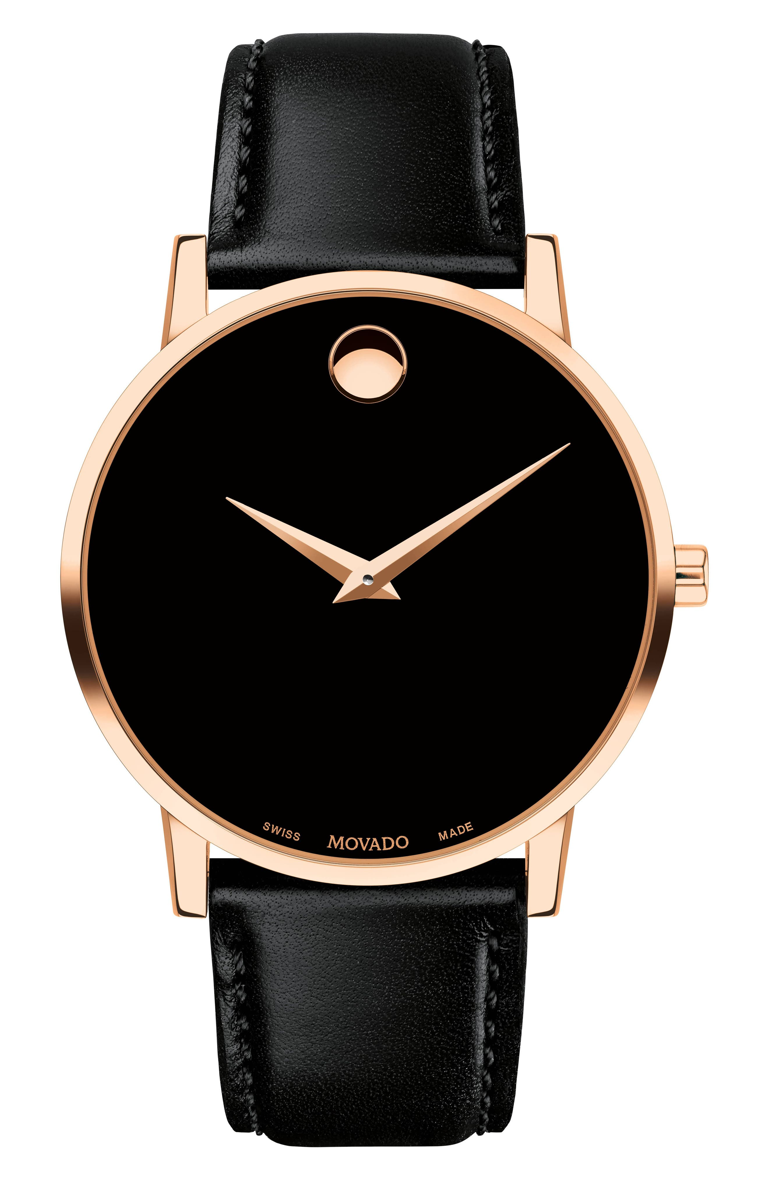 Leather Strap Watch, 40mm,                         Main,                         color, BLACK/ ROSE GOLD