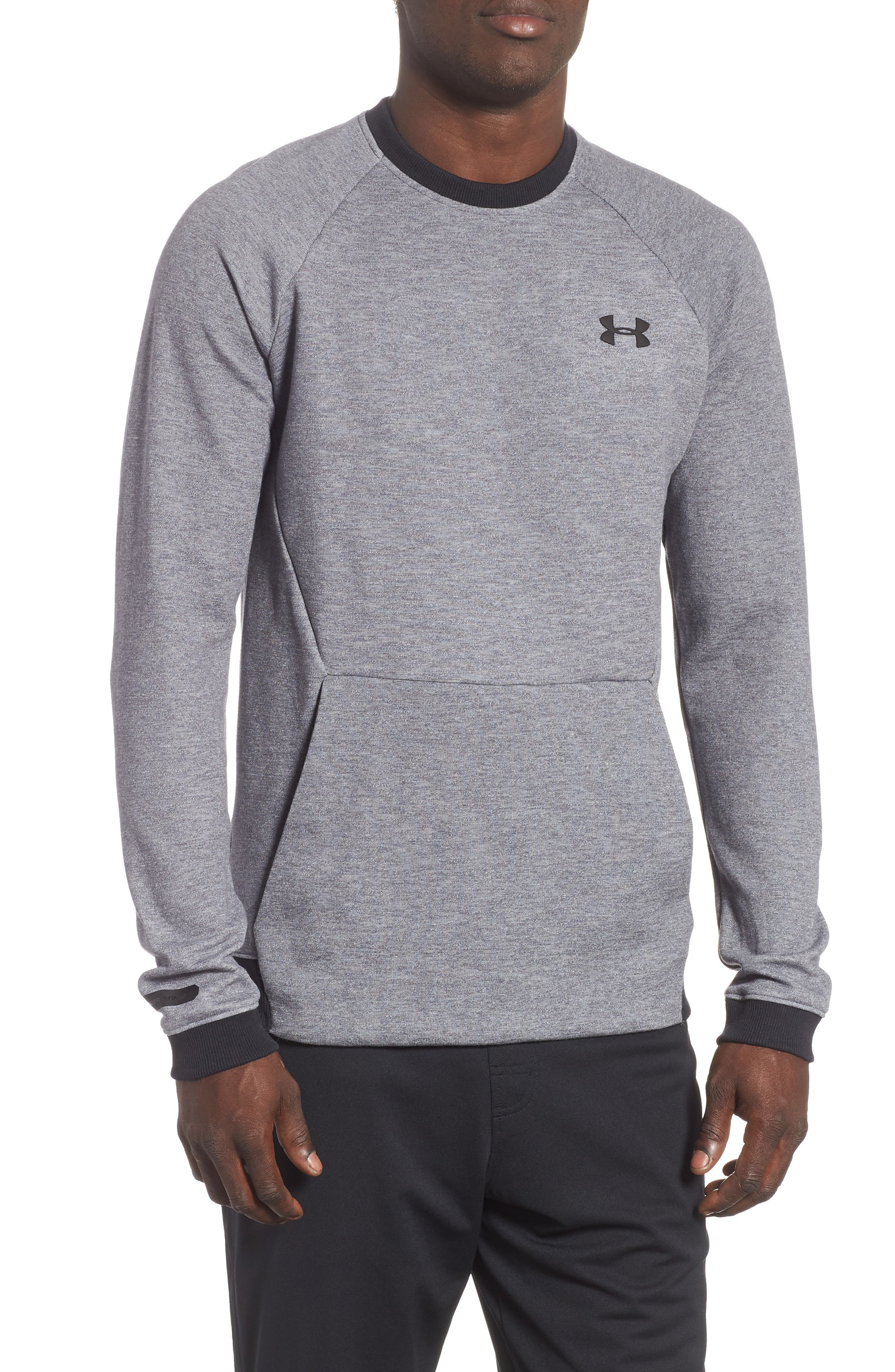 UNDER ARMOUR,                             Sportstyle 2x Crew Sweatshirt,                             Main thumbnail 1, color,                             STEEL