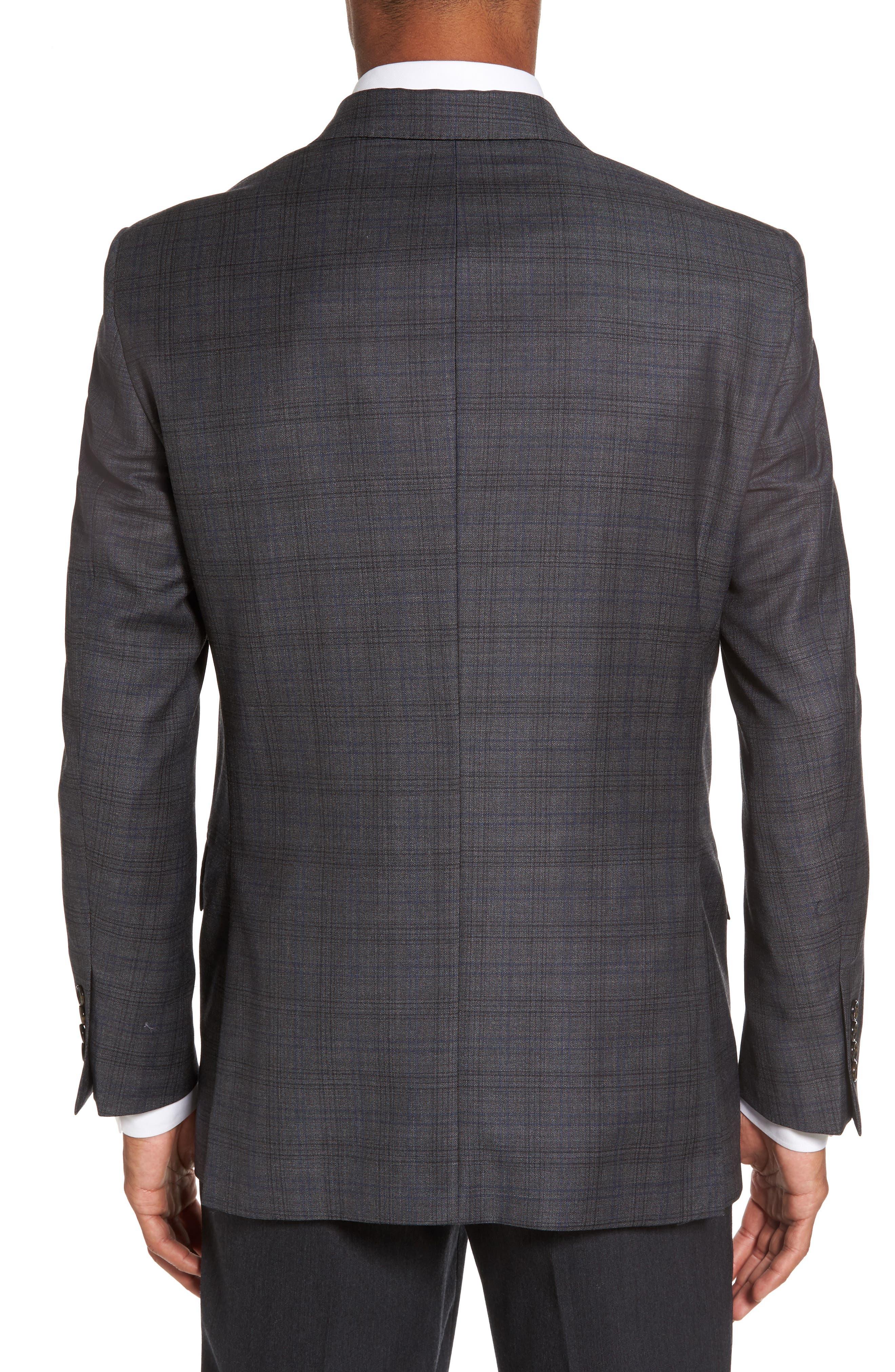 Sutton Trim Fit Plaid Wool Sport Coat,                             Alternate thumbnail 2, color,